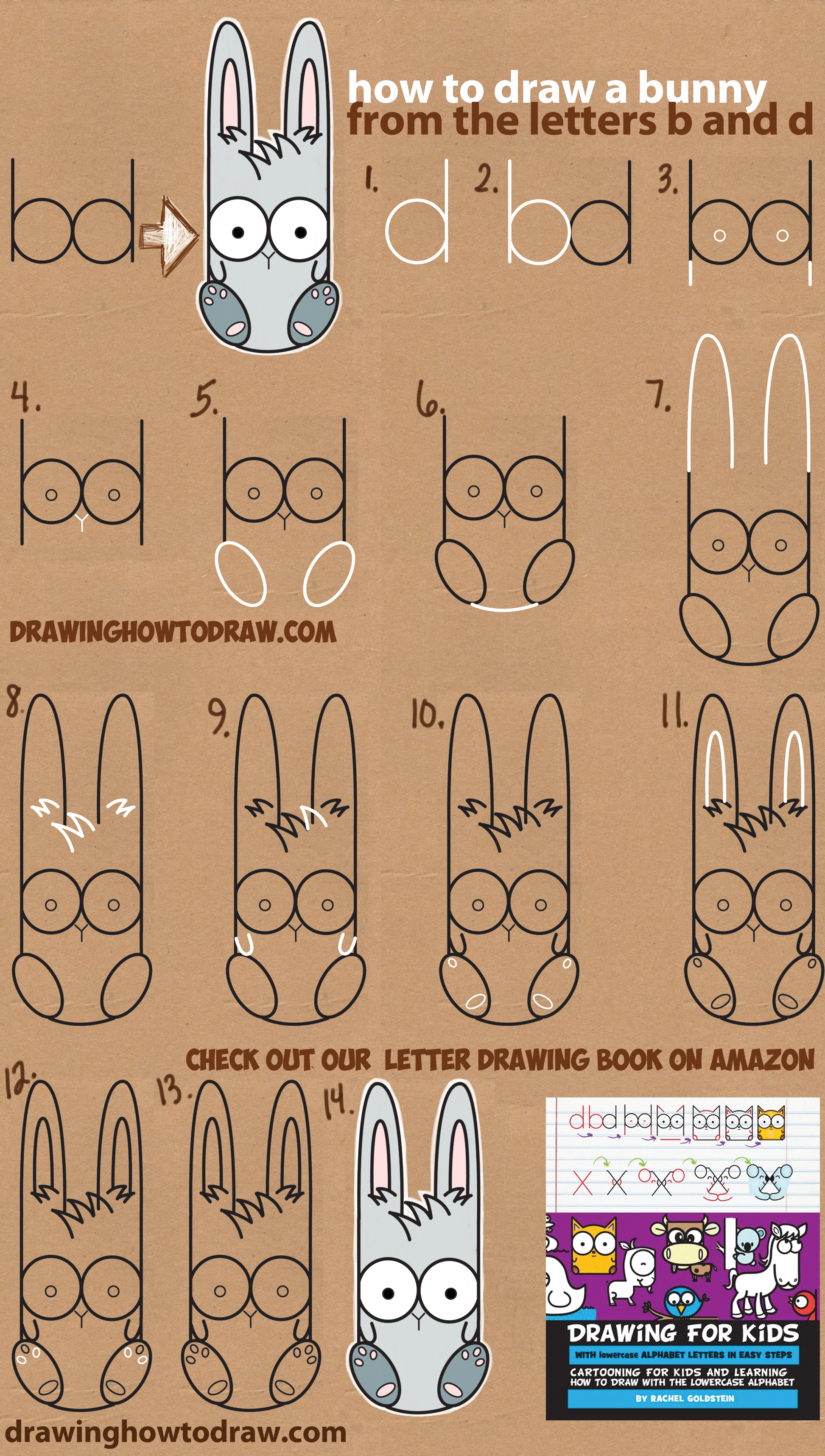 How to Draw A Cute Cartoon Bunny Using Lowercase Letters b and d - Easy Step by Step Drawing Tutorial for Kids (Great for Easter)