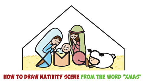 How to Draw Cartoon Nativity Scene with Mary, Jesus, and Joseph in a Manger : Xmas Word Toon Easy Step by Step Drawing Tutorial for Kids