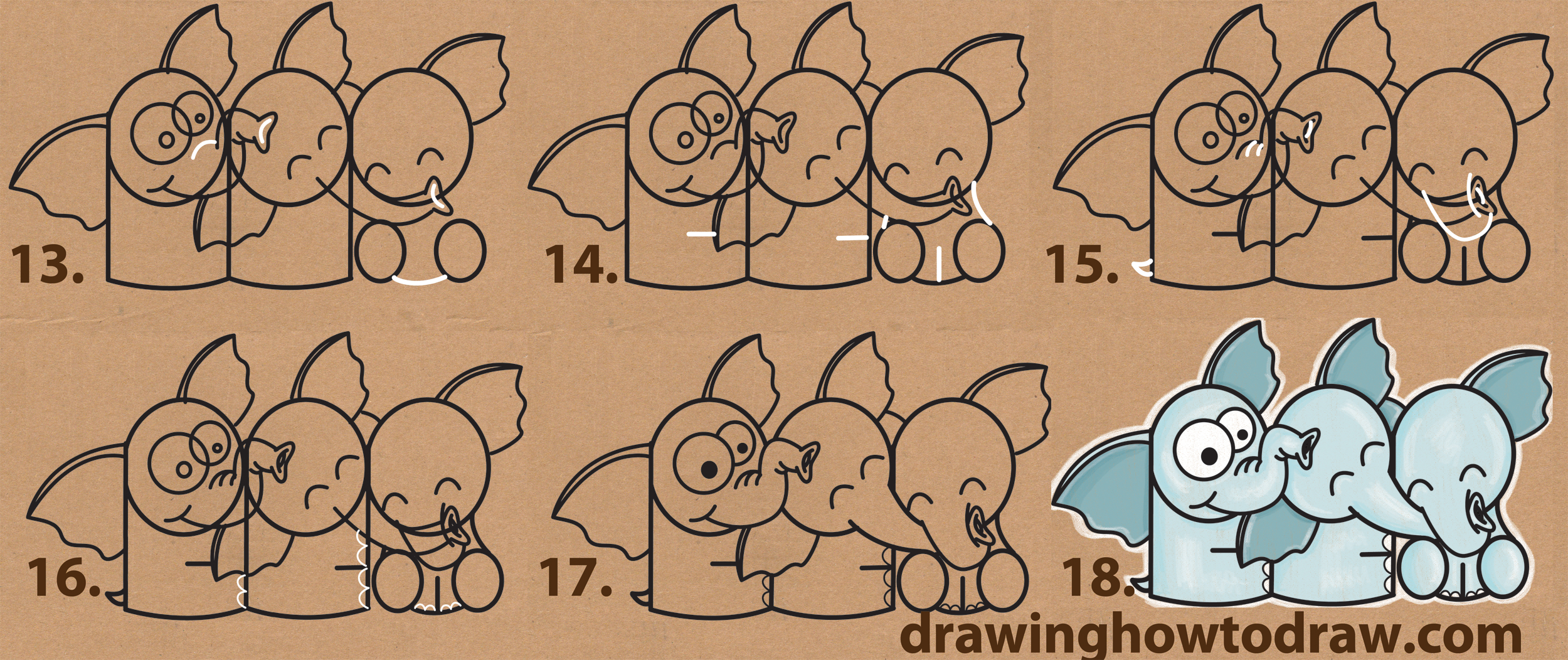 how to draw cute cartoon elephants hugging from letter u0027p u0027 shapes