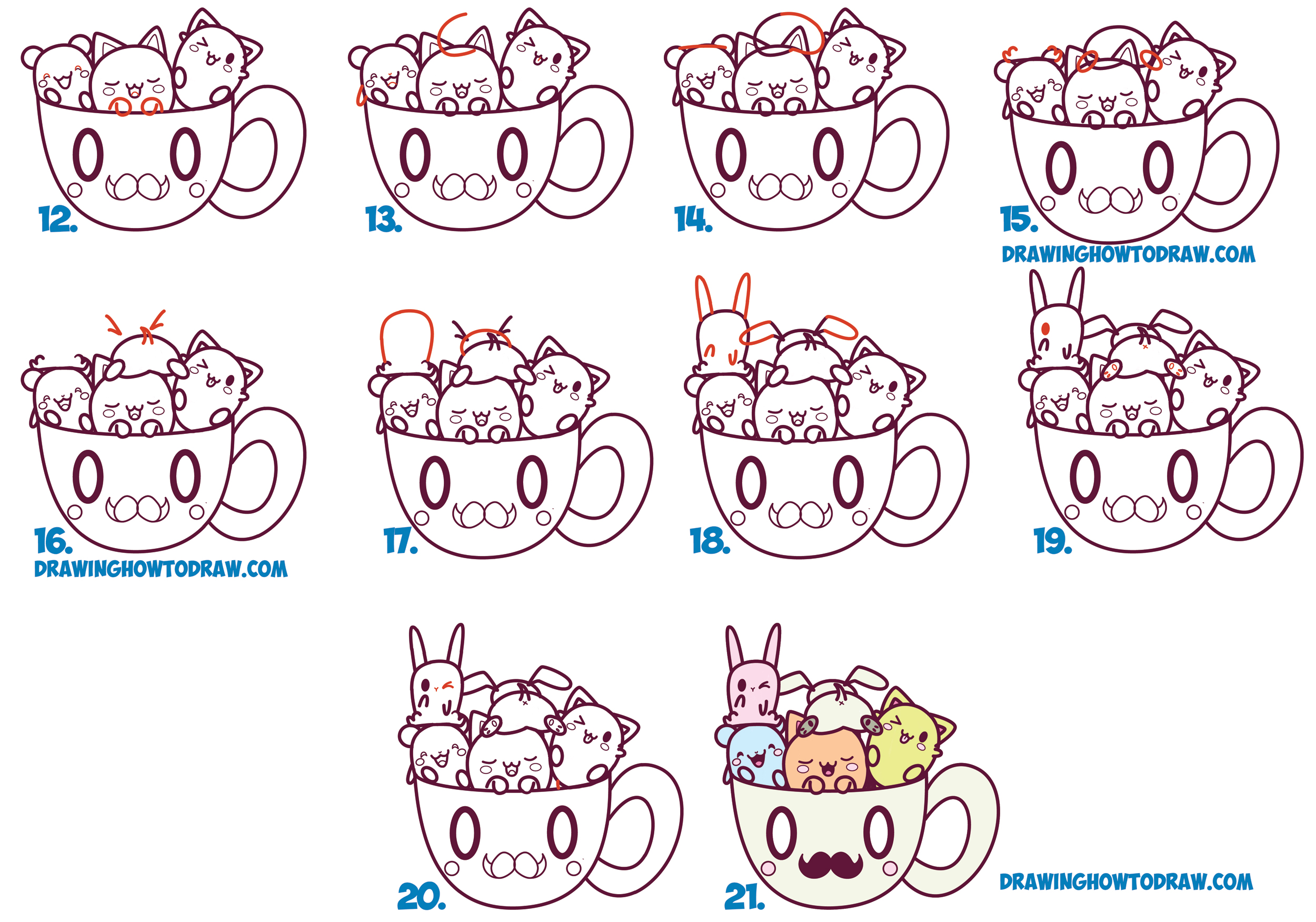 Learn How To Draw Cute Kawaii Animals And Characters In A Coffee Mug With A  Mustache