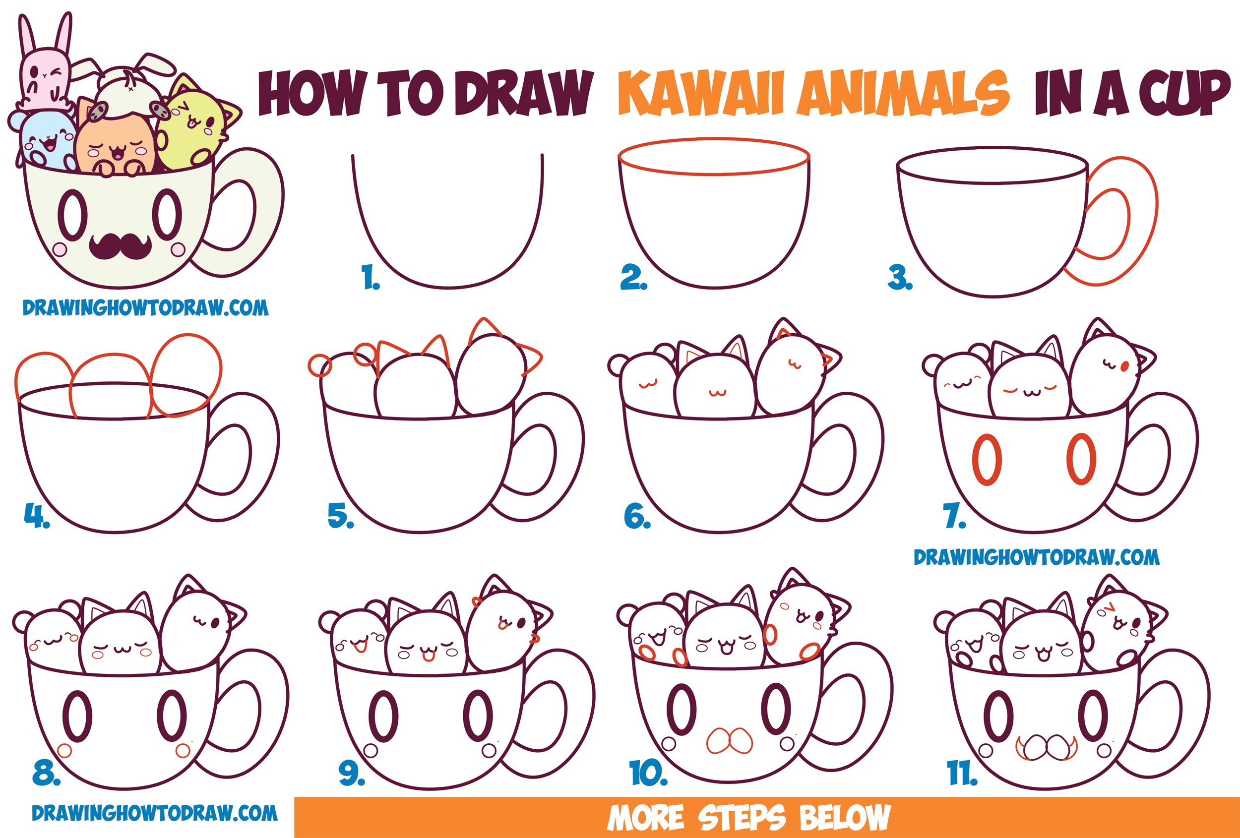 How to Draw Cute Kawaii Animals and Characters in a Coffee Cup Easy Step by Step Drawing Tutorial for Beginners