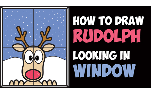 How to Draw Rudolph the Red Nosed Reindeer Looking in Window Easy Step by Step Drawing Tutorial Art Lesson for Kids on Christmas