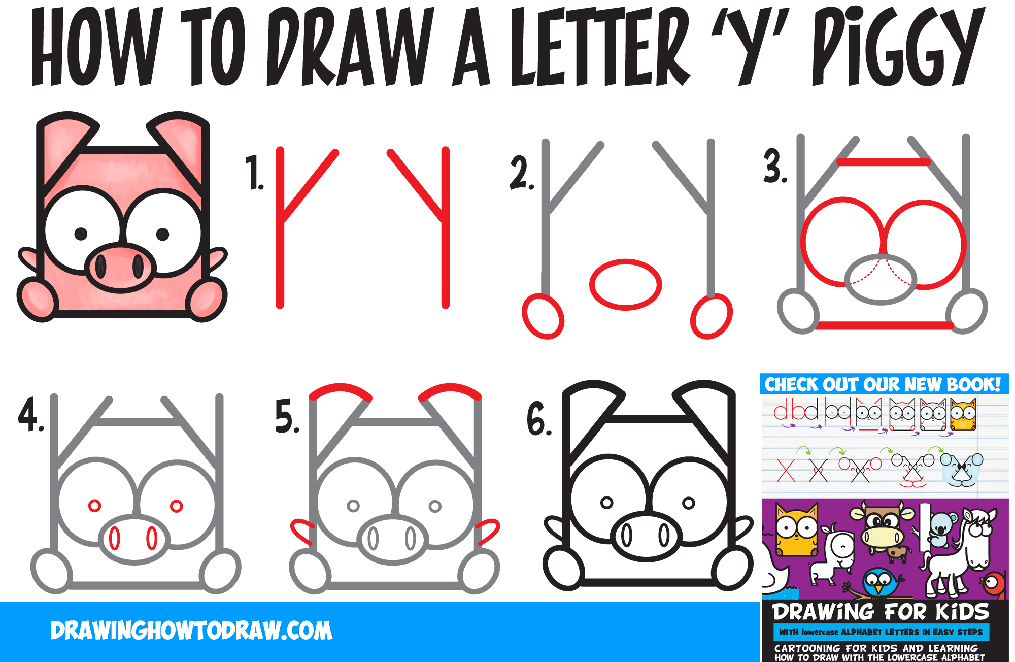 How to Draw a Cute Kawaii Cartoon Pig from Letter 'Y' Shapes - Easy Step by Step Drawing Tutorial for Kids