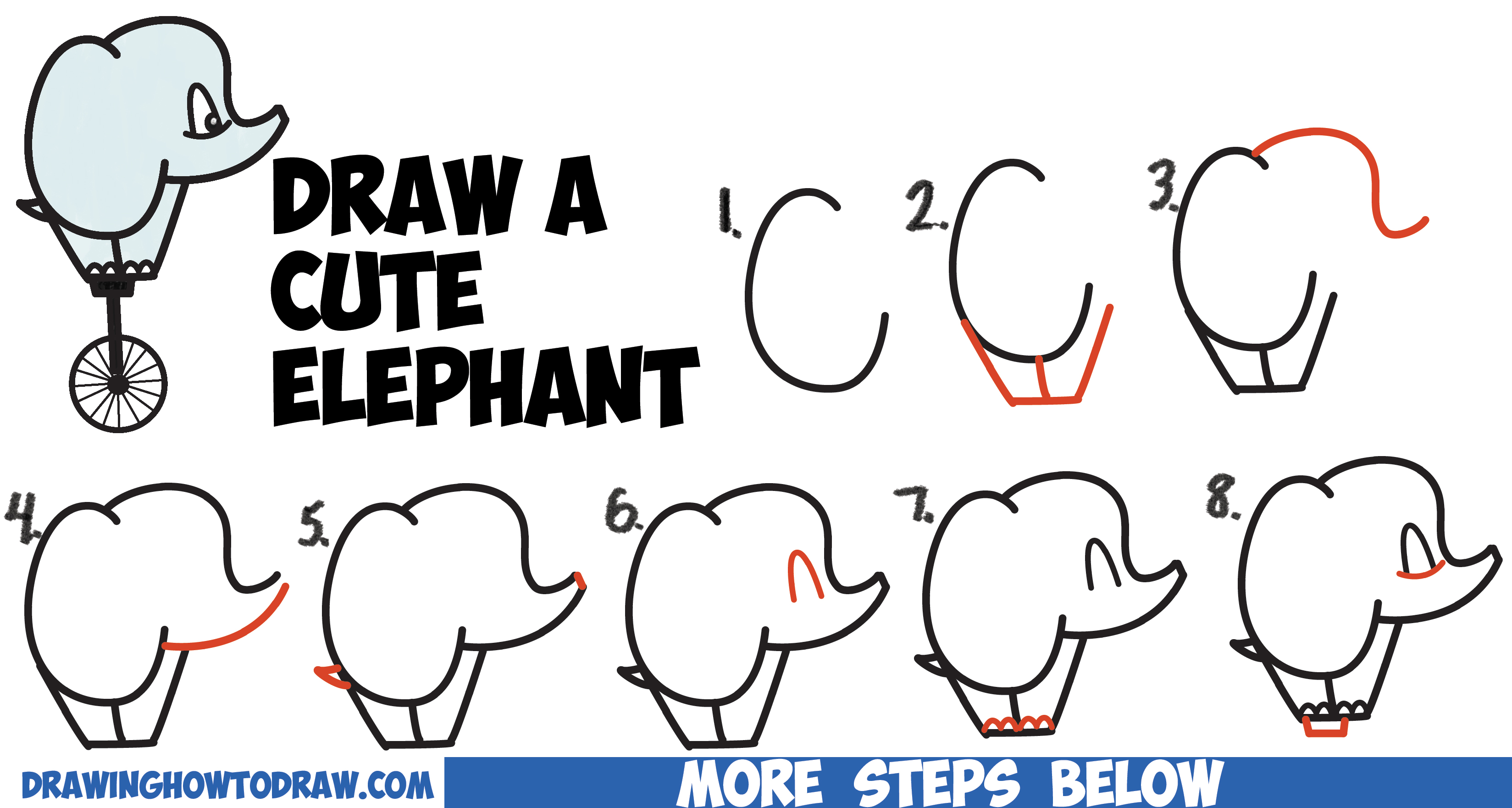How to draw a cute cartoon baby elephant riding a unicycle for How to make cartoon drawings step by step