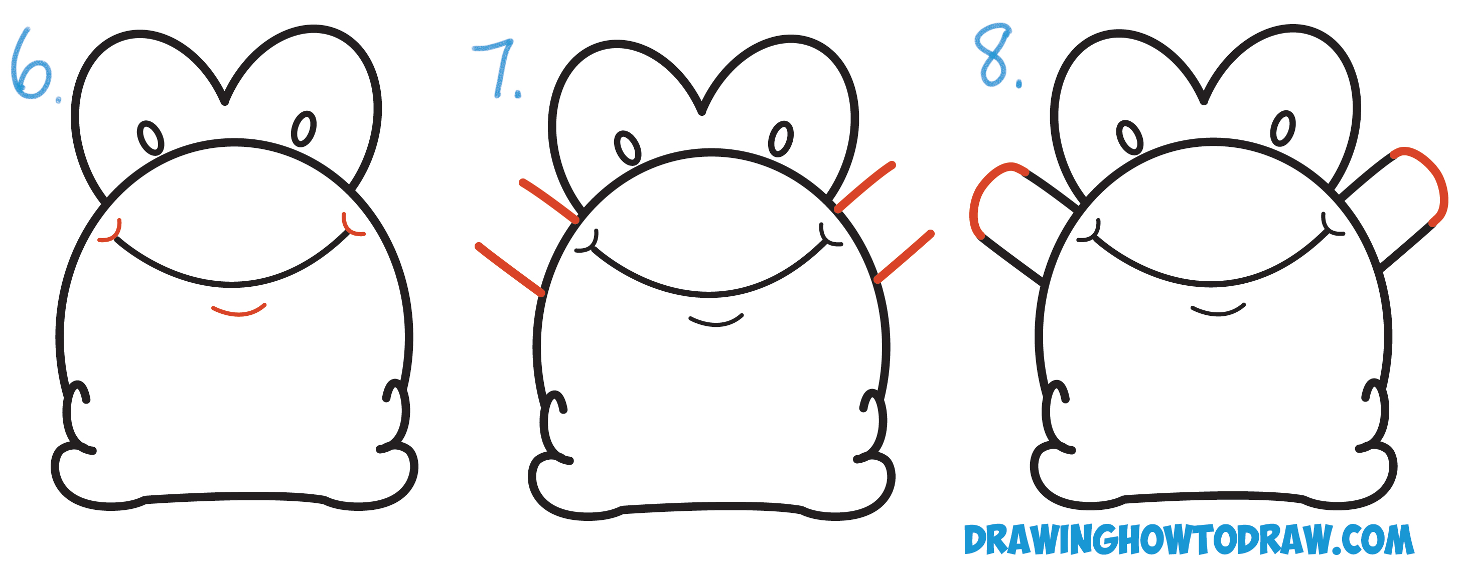 Learn How to Draw Cute Cartoon Baby Frog from Number 3 Shape Simple Steps Drawing Lesson for Beginners
