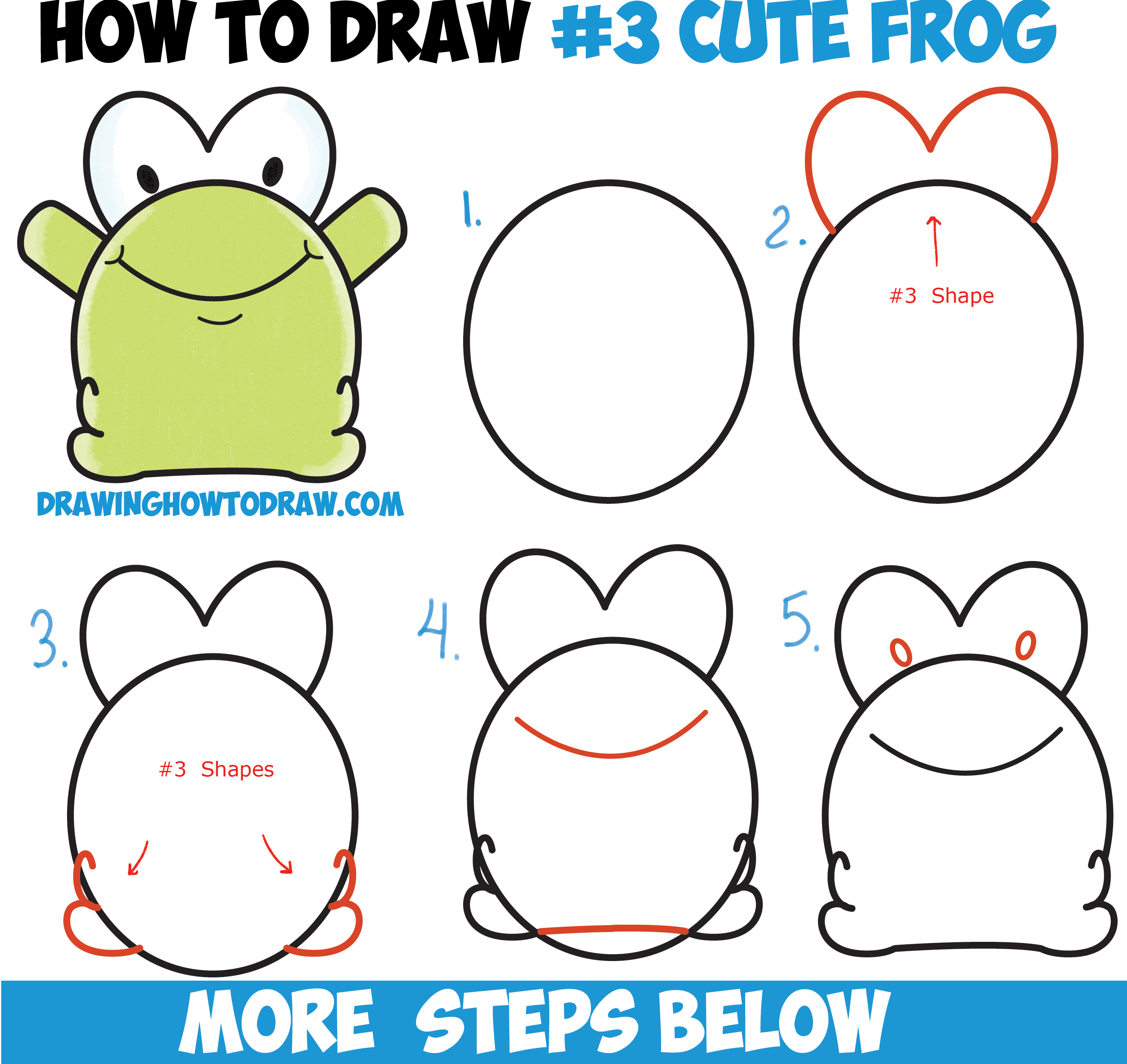 How to draw cute cartoon baby frog from number 3 shape for How to make cartoon drawings step by step