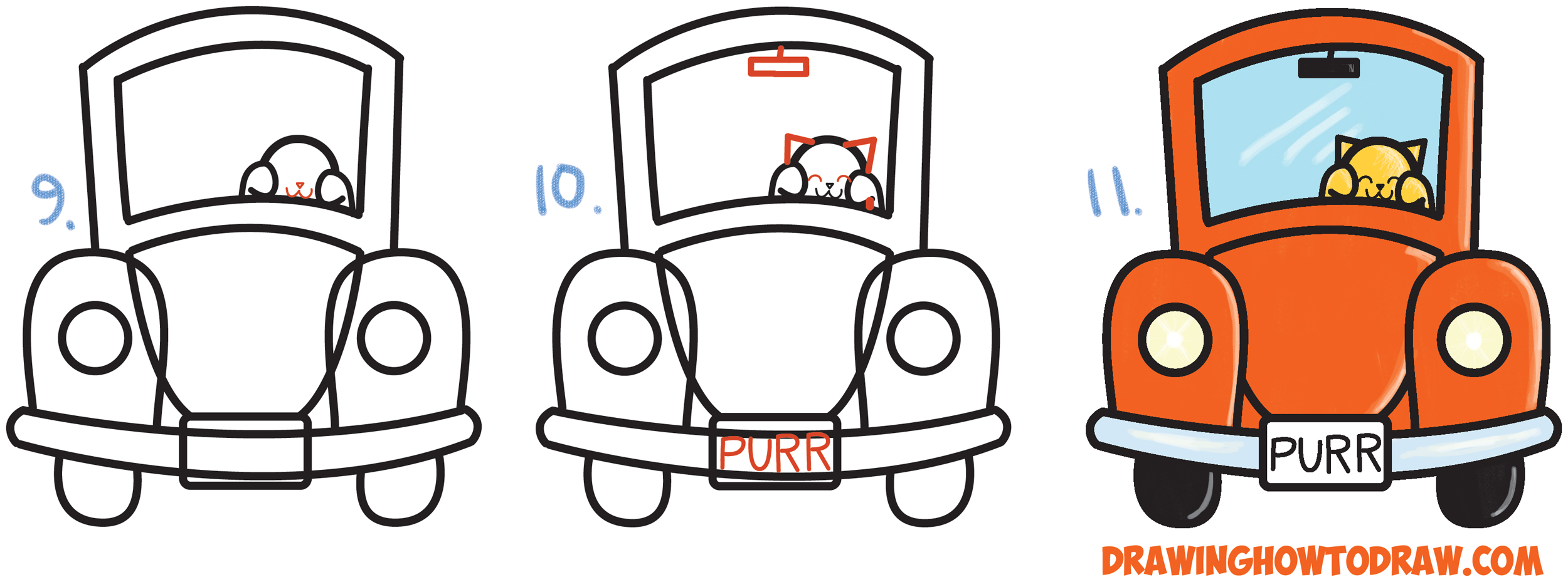 Learn How To Draw Cute Cartoon Cat Driving A Car From Exclamation Points  Simple Steps Drawing