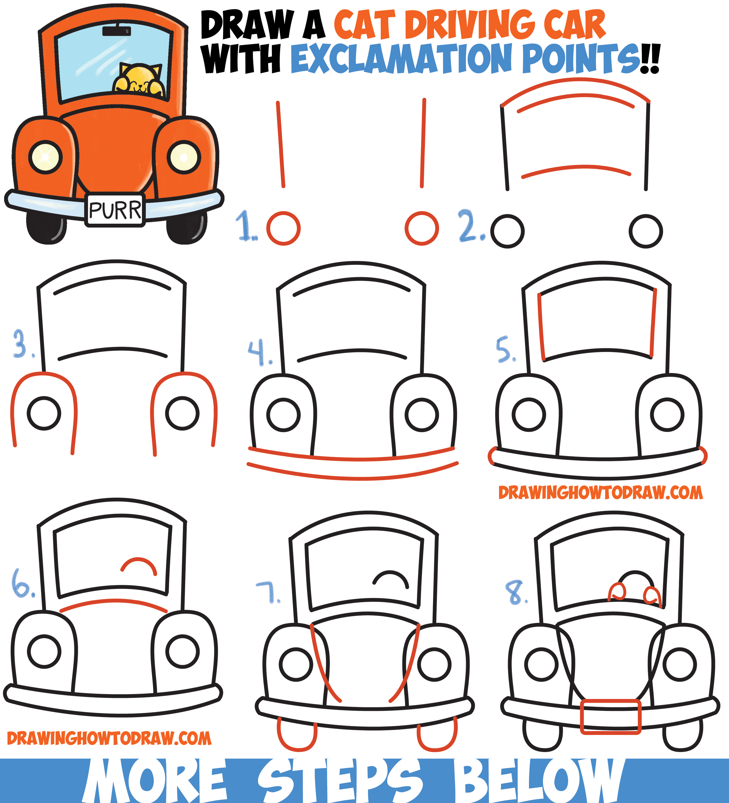 how to draw cute cartoon cat driving a car from exclamation points easy step by step