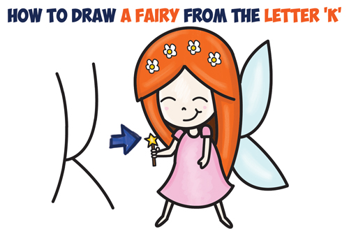 How to Draw a Cute Cartoon Fairy (Kawaii Chibi) from Letter 'K' Easy Step by Step Drawing Tutorial for Kids