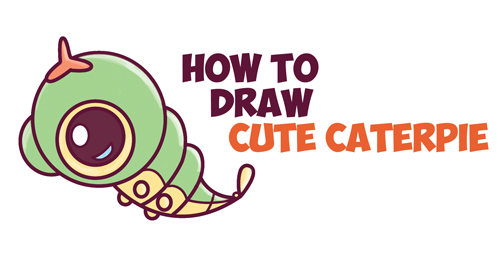 Learn How to Draw Cute / Chibi / Kawaii Caterpie from Pokemon Simple Steps Drawing Lesson for Beginners