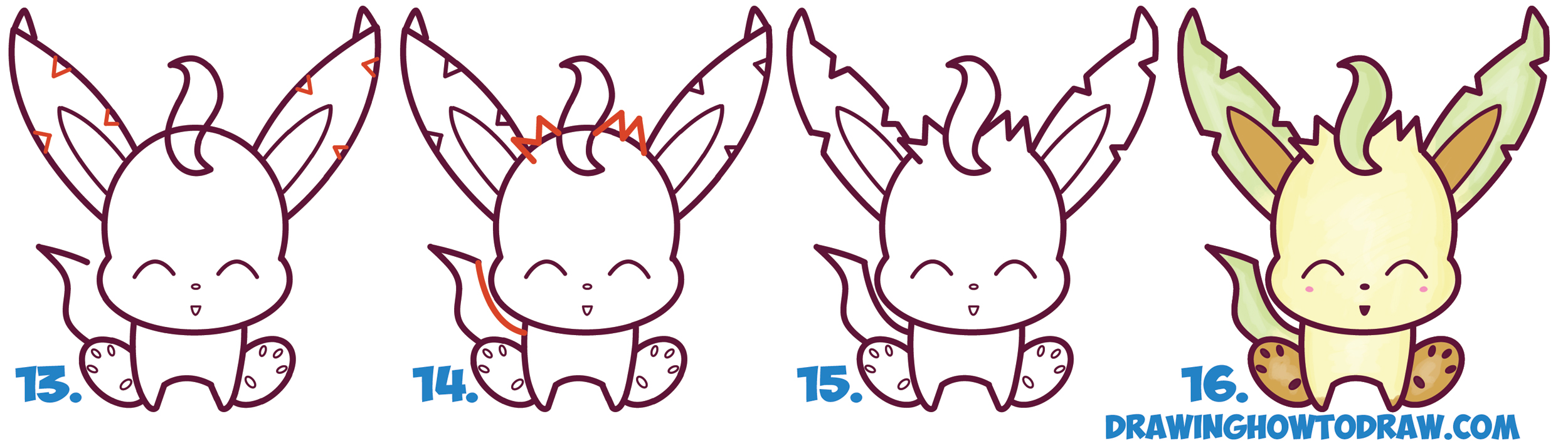 Learn How to Draw Cute Kawaii Chibi Leafeon from Pokemon Simple Steps Drawing Lesson for Beginners