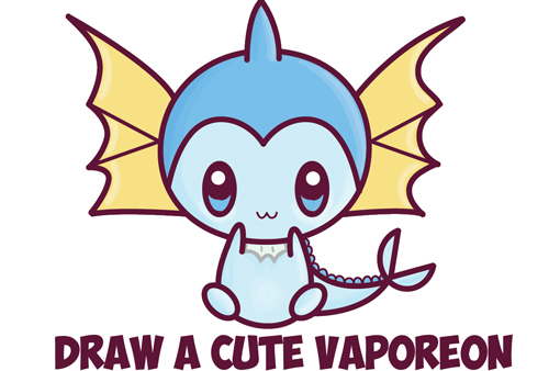 how to draw a super cute chibi vaporeon from pokemon for kids