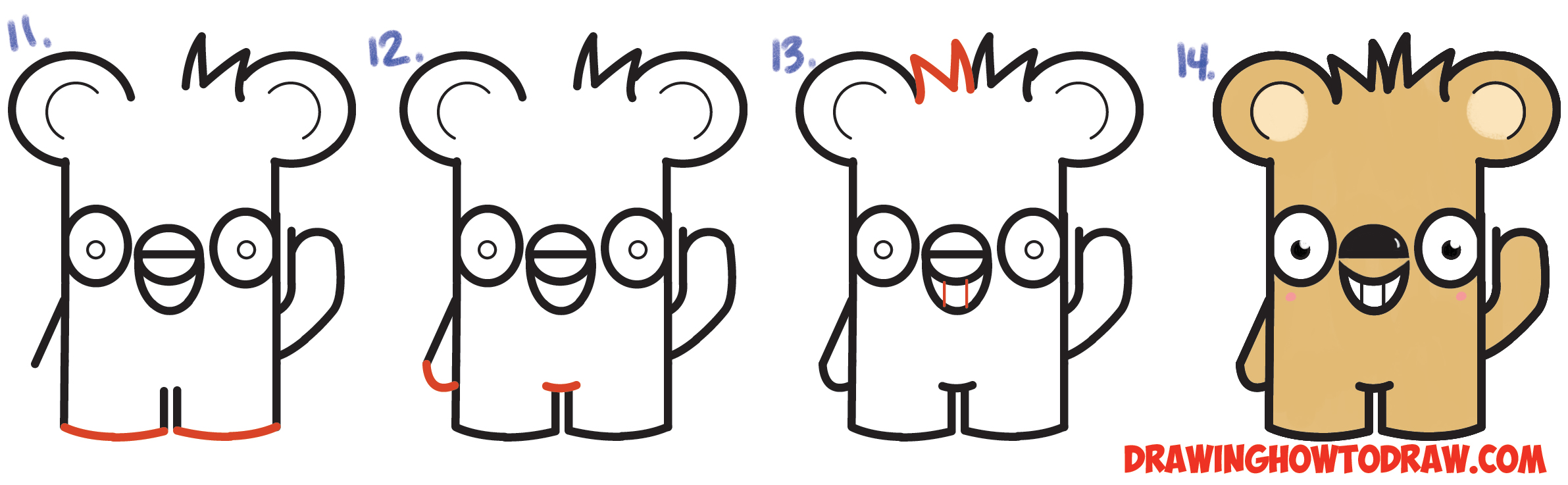 "Learn How to Draw Cute Cartoon Kawaii Bear from the Word ""bear"" Simple Steps Drawing Lesson for Beginners"