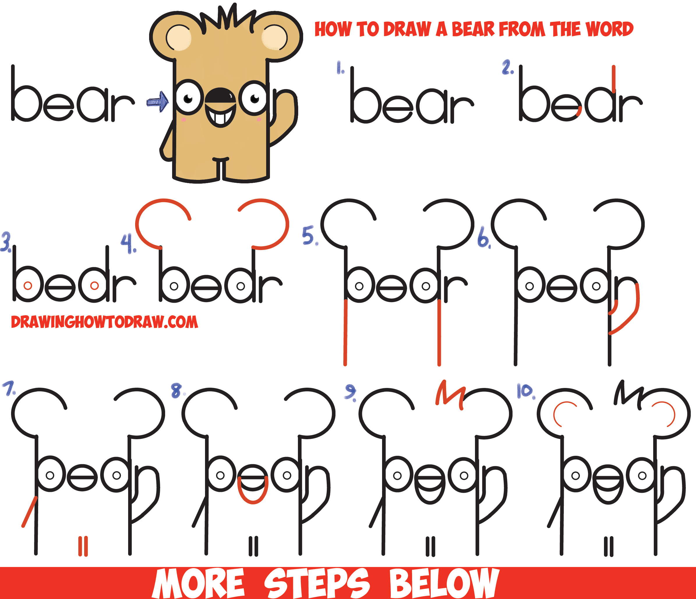 How to draw cute cartoon kawaii bear from the word bear for How to make cartoon drawings step by step