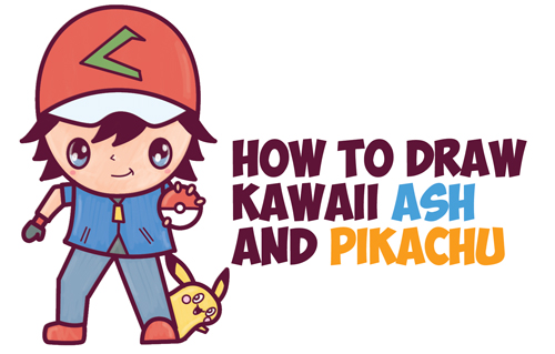 How to Draw Cute Kawaii Chibi Ash and Pikachu from Pokemon Easy Step by Step Drawing Tutorial for Kids and Beginners