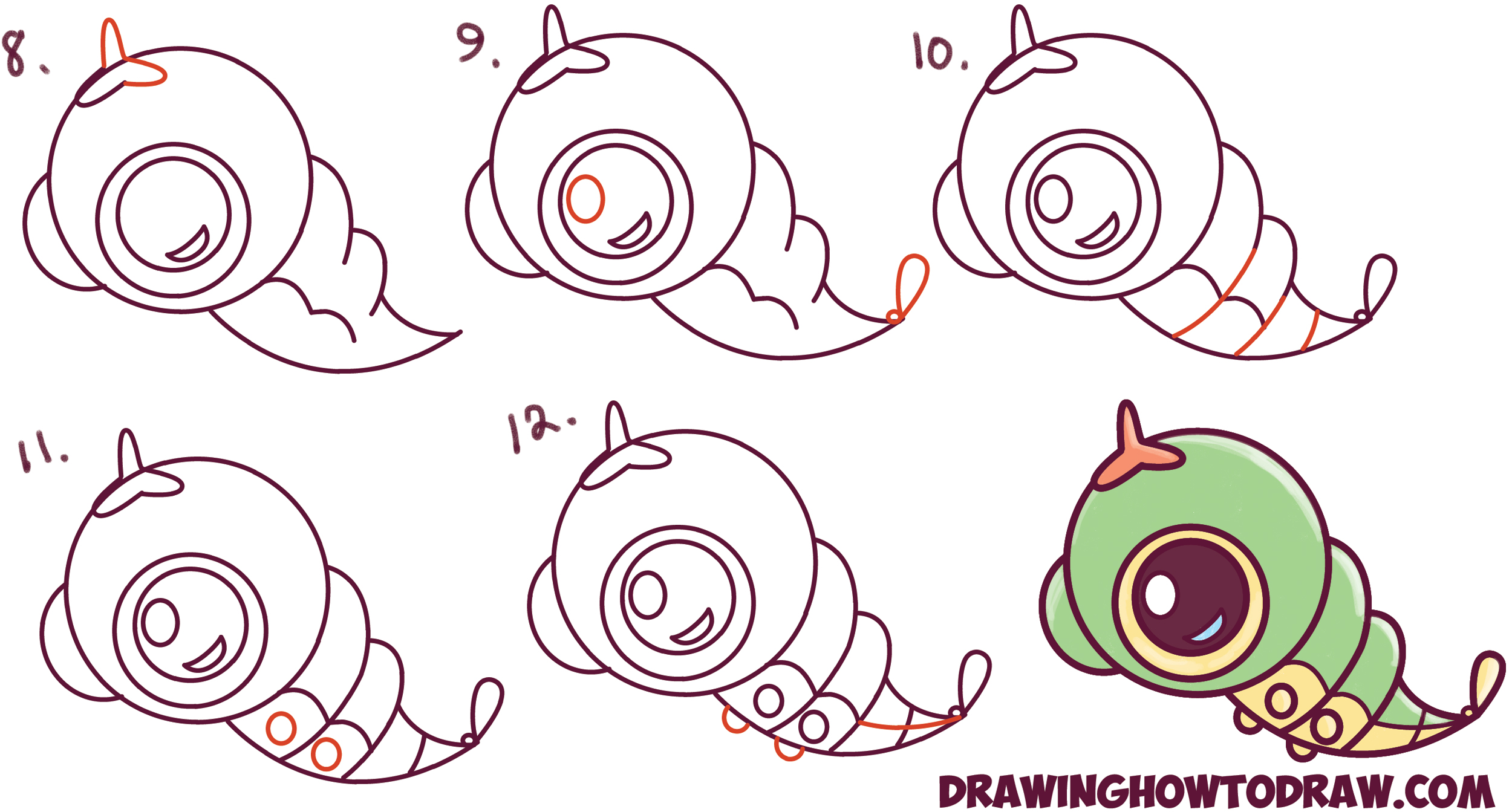 How to Draw Cute / Chibi / Kawaii Caterpie from Pokemon Easy Step by Step Drawing Tutorial for Kids