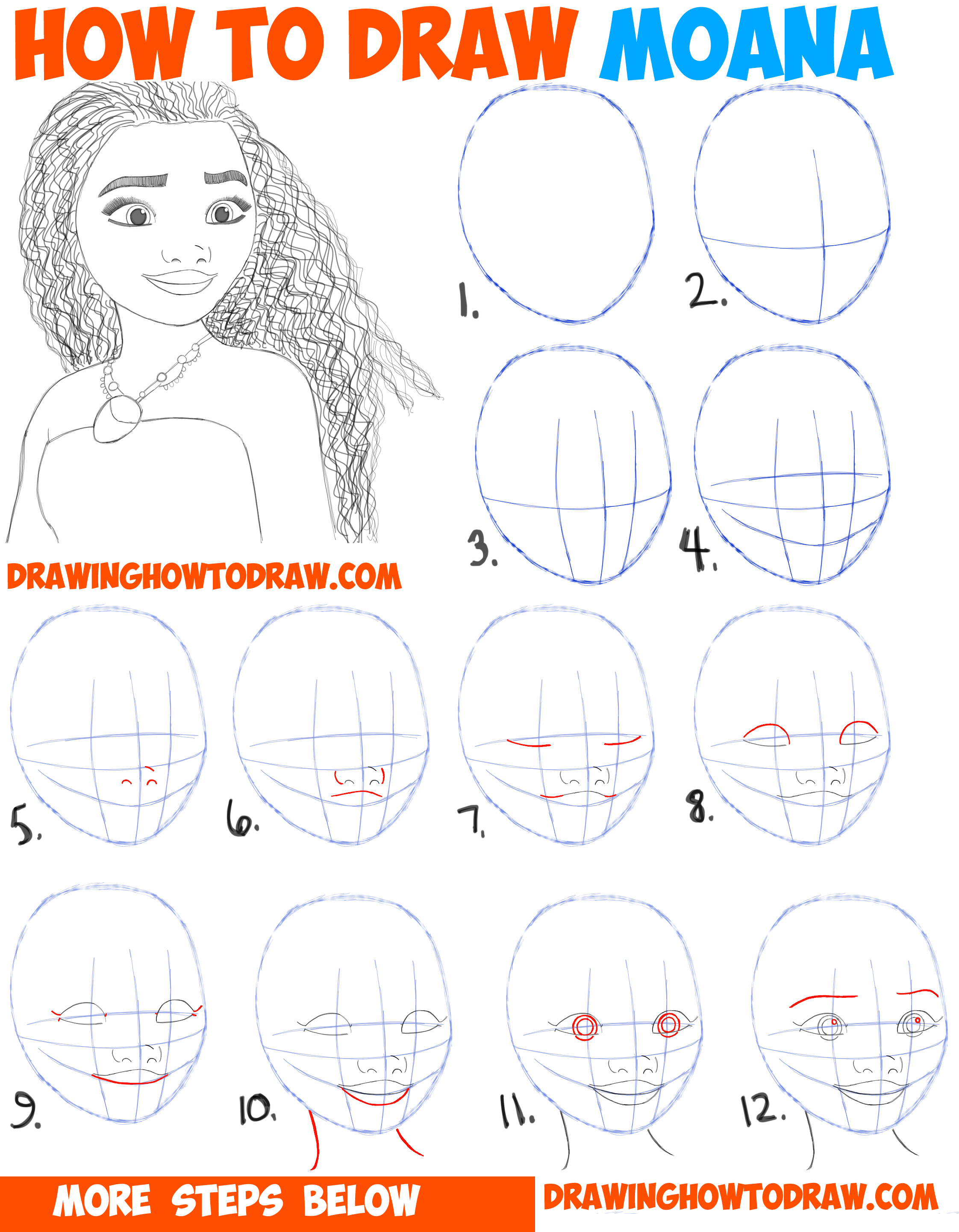 How to draw moana easy step by step drawing tutorial for kids and beginners