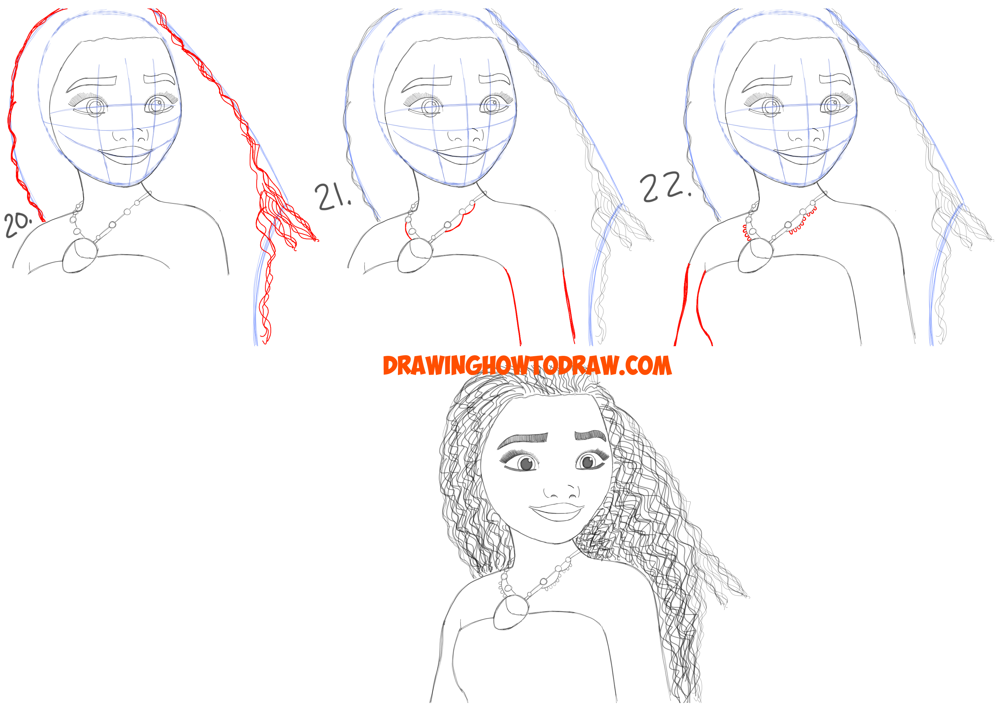 Learn How to Draw Moana from Disney's Moana with Simple Steps Drawing Lesson for Kids and Beginners