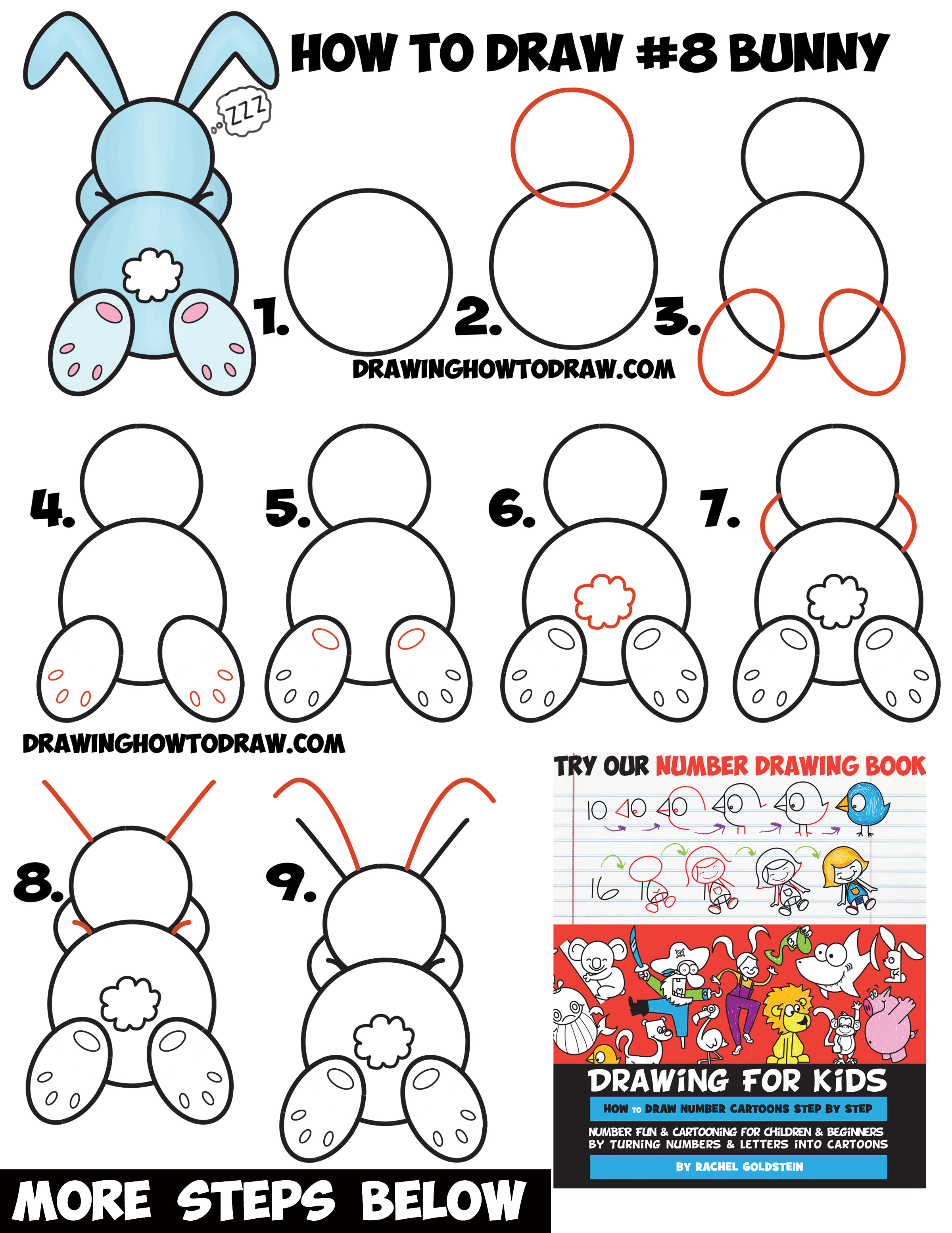 How To Draw A Cute Cartoon Sleeping Bunny Rabbit From #8 Shape Easy Step By