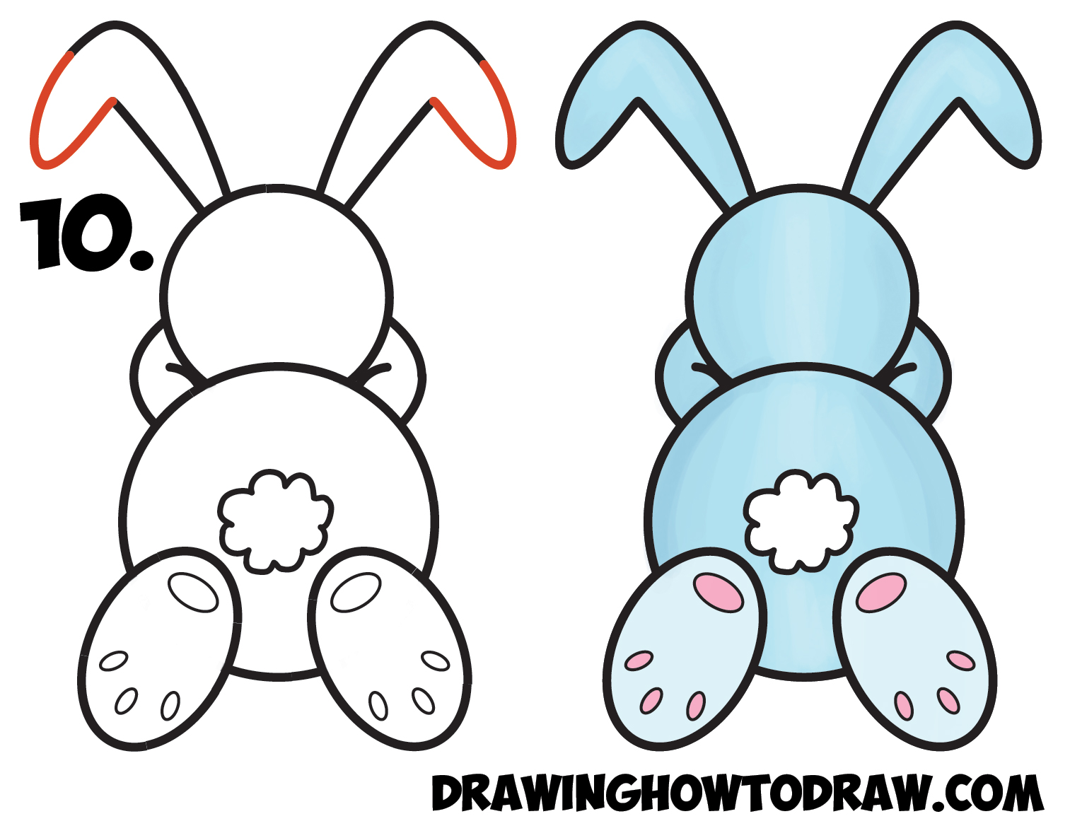 Learn how to draw a cute cartoon sleeping bunny rabbit from 8 shape simple steps