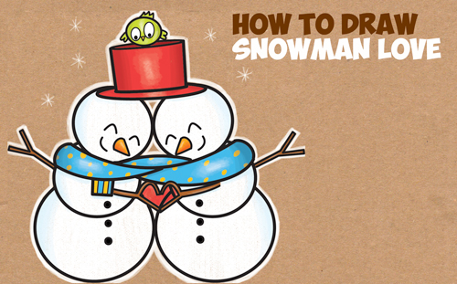 How to Draw 2 Snowmen Hugging (Snowmen Couple in Love) Easy Step by Step Drawing Tutorial for Kids
