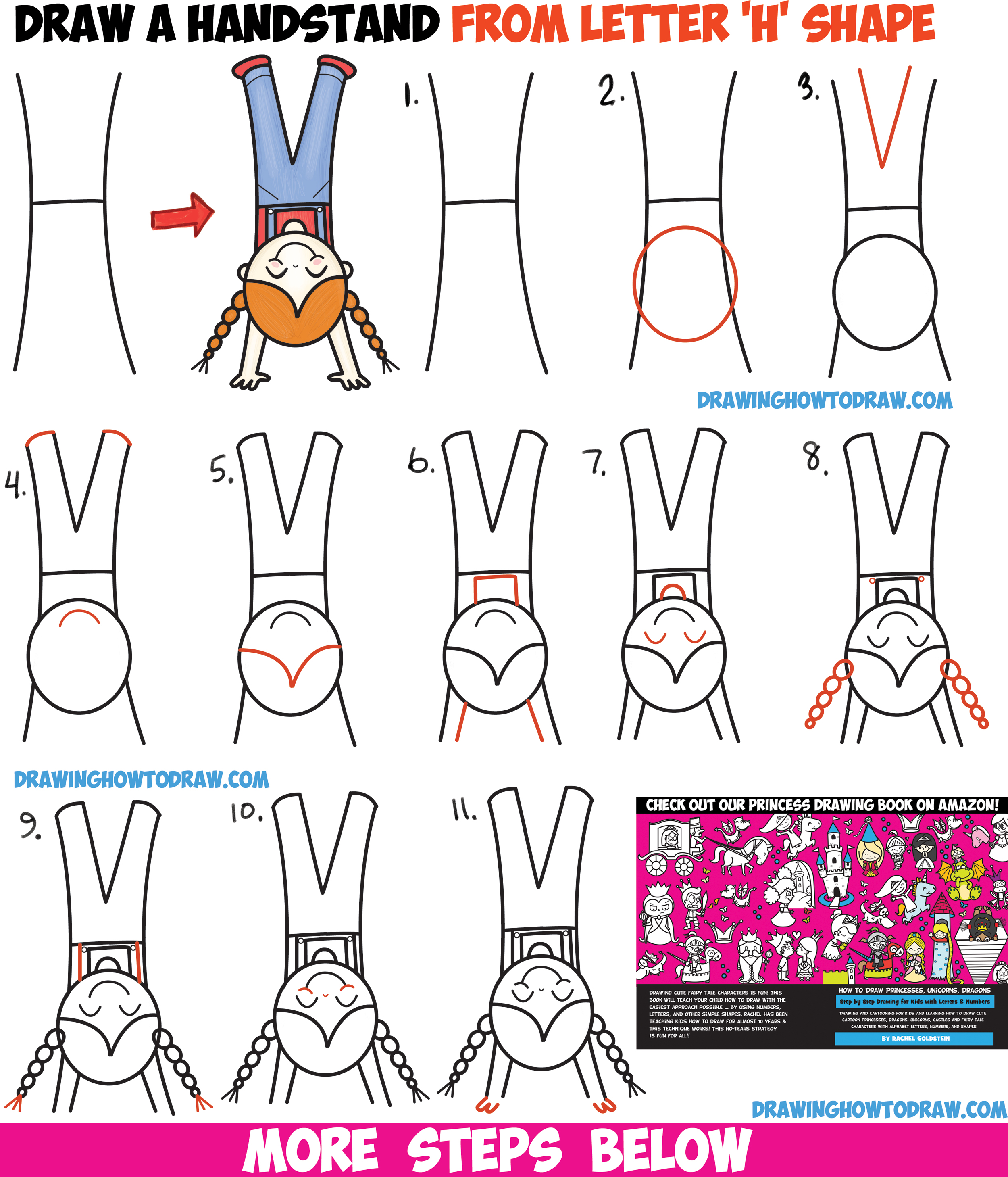 How To Draw A Cute Cartoon Kawaii Girl Doing Handstand From The Letter H