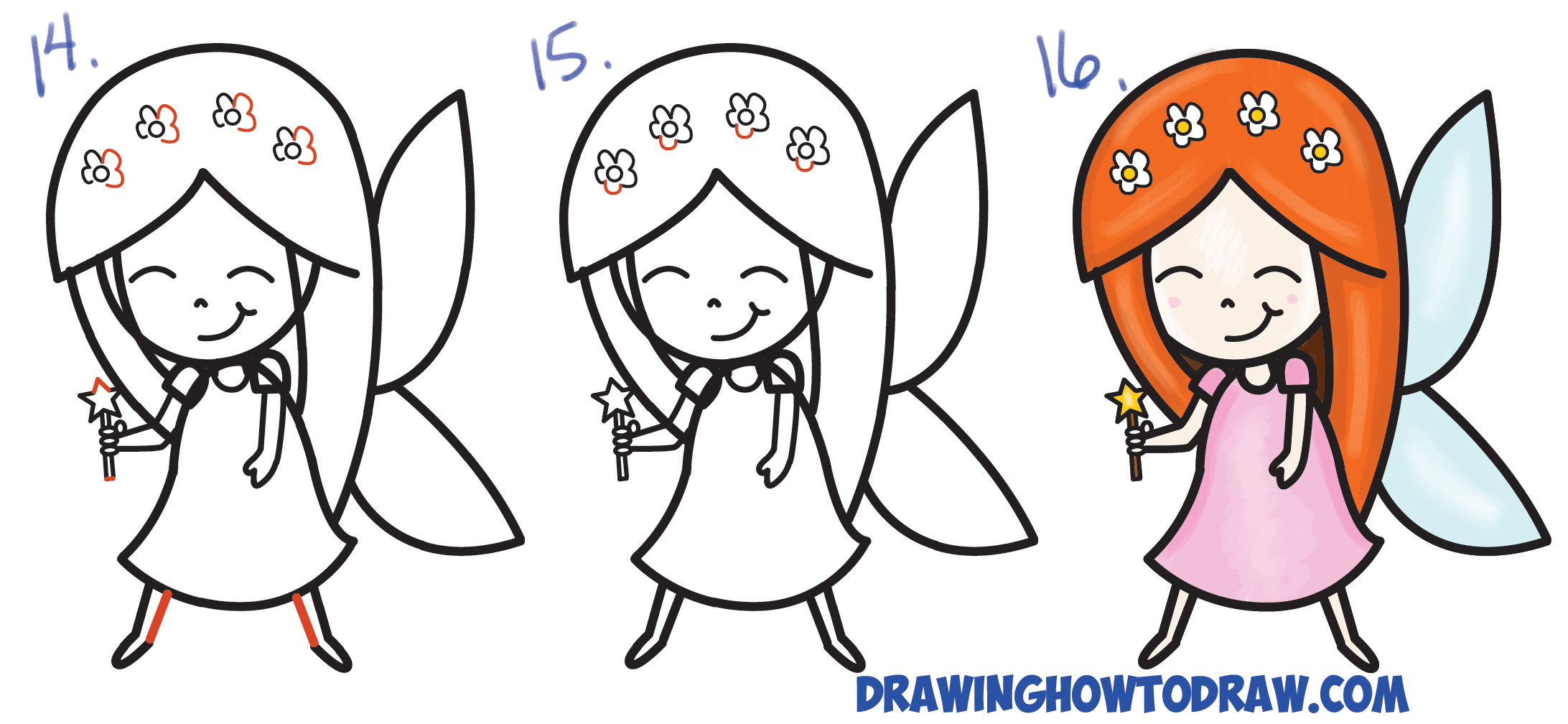 Learn How to Draw a Cute Cartoon Fairy (Kawaii Chibi) from Letter 'K' Simple Steps Drawing Lesson for Beginners