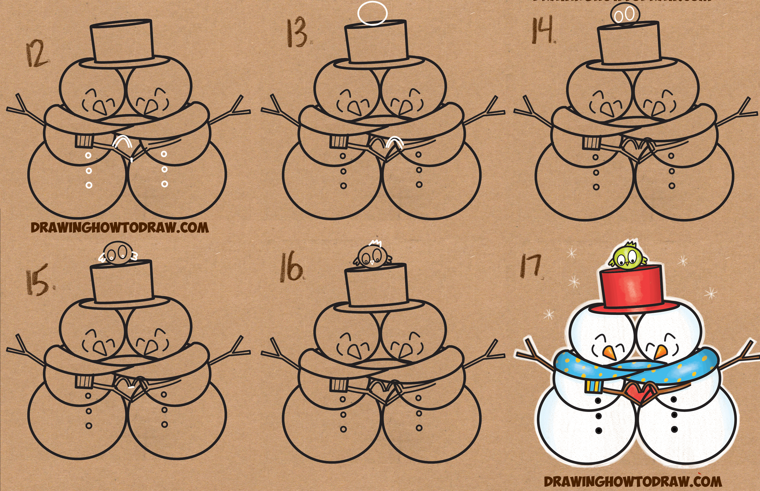 Learn How to Draw 2 Cartoon Snowmen Cuddling (Snowmen Couple in Love) Simple Steps Drawing Lesson for Beginners