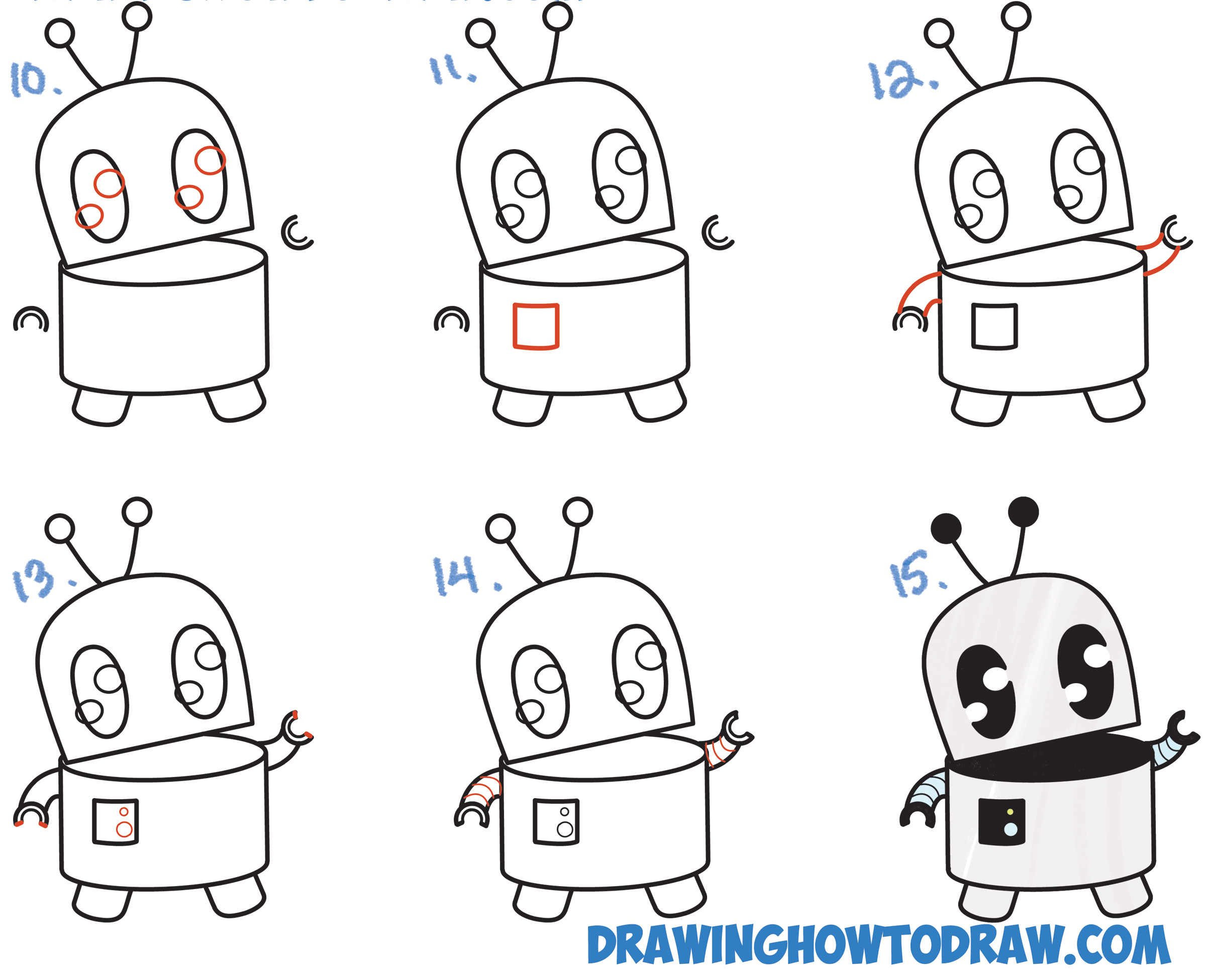 Learn How to Draw a Cute Cartoon Robot Simple Steps Drawing Lesson with Letters and Numbers and Simple Shapes for Kids and Beginners