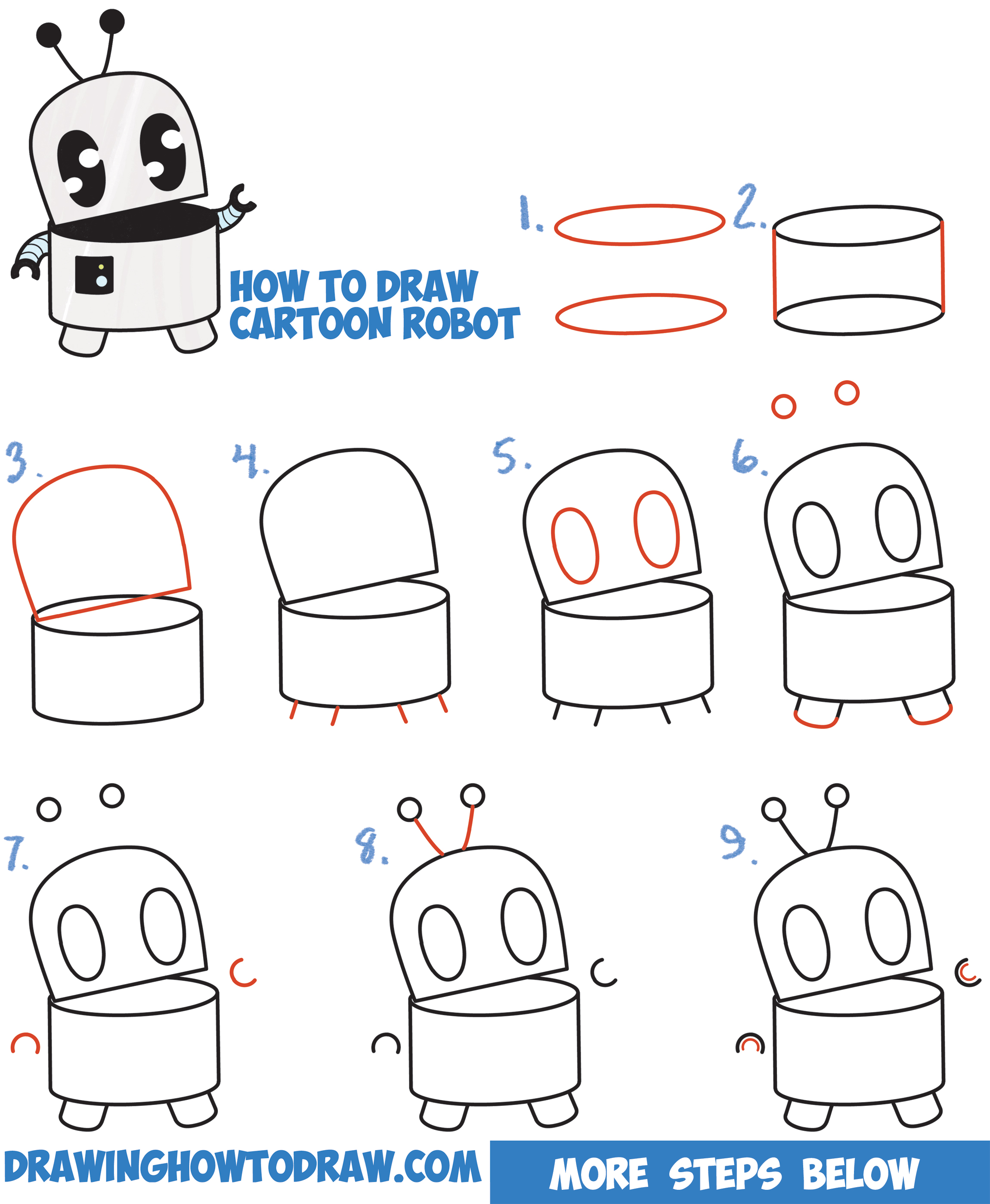 Uncategorized Easy Drawings For Beginners Step By Step how to draw a cute cartoon robot easy step by drawing tutorial for kids and