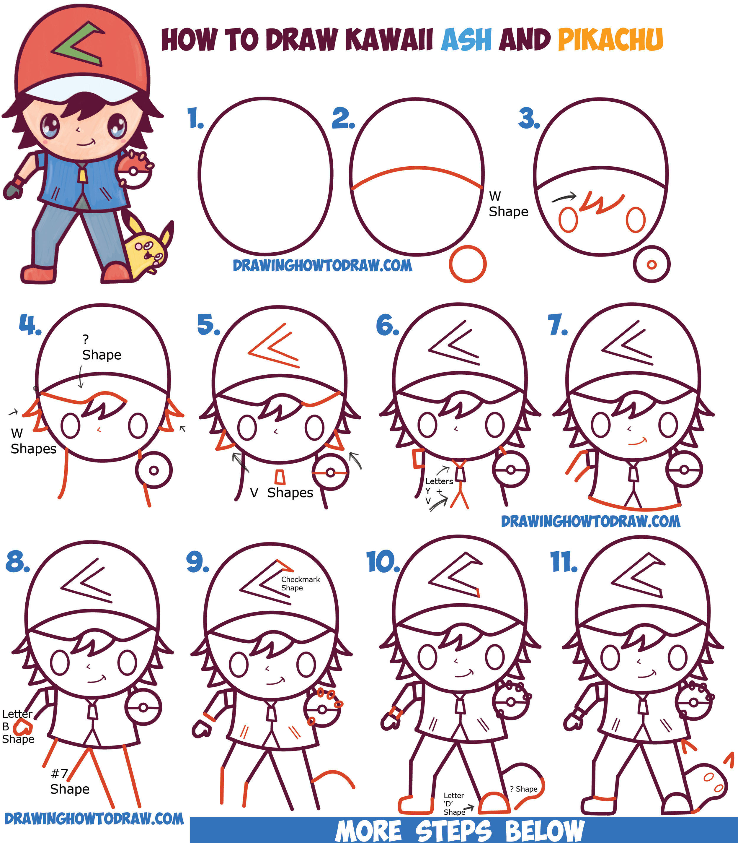 How to draw cute kawaii chibi ash ketchum and pikachu from pokemon easy step by step