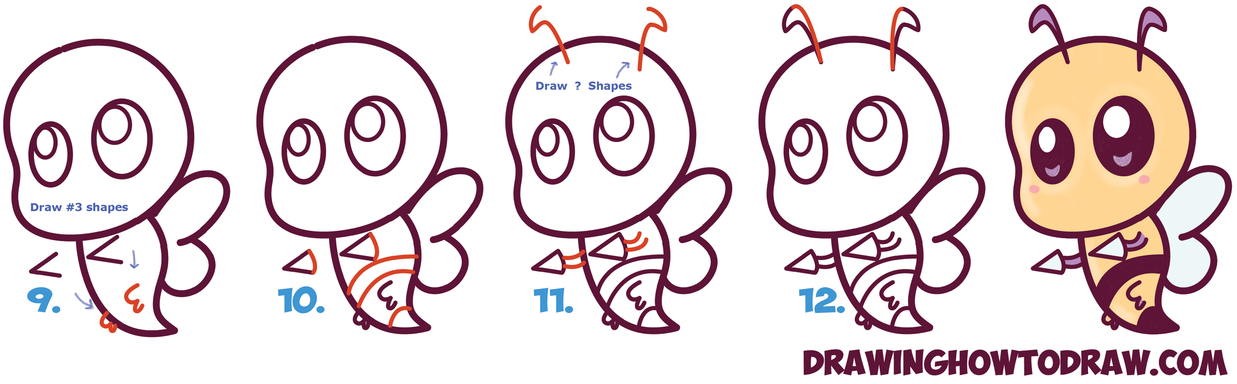 Learn How to Draw Cute / Chibi / Kawaii Beedrill from Pokemon Simple Steps Drawing Lesson for Kids