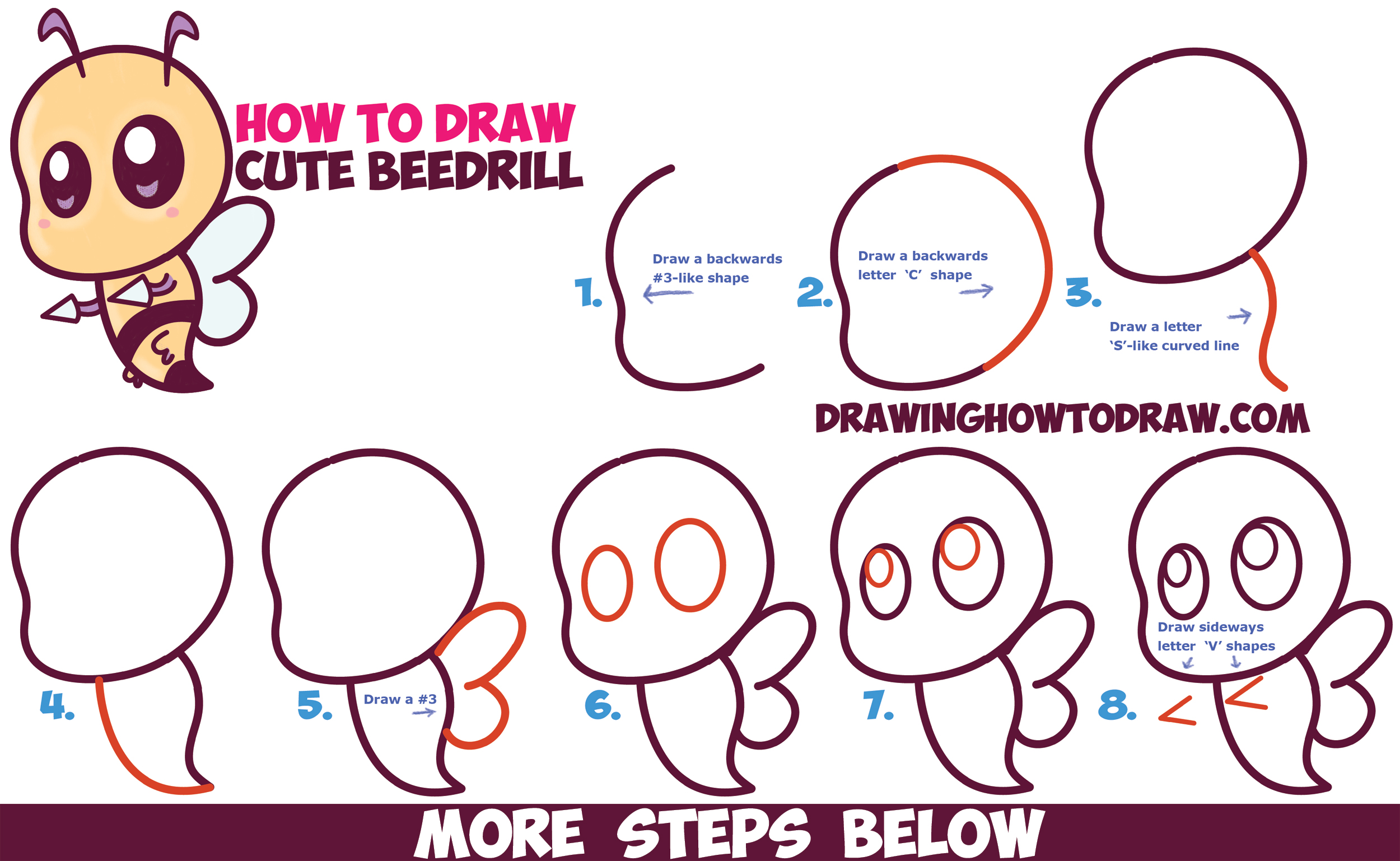 How to Draw Cute / Chibi / Kawaii Beedrill from Pokemon Easy Step by Step Drawing Tutorial for Beginners