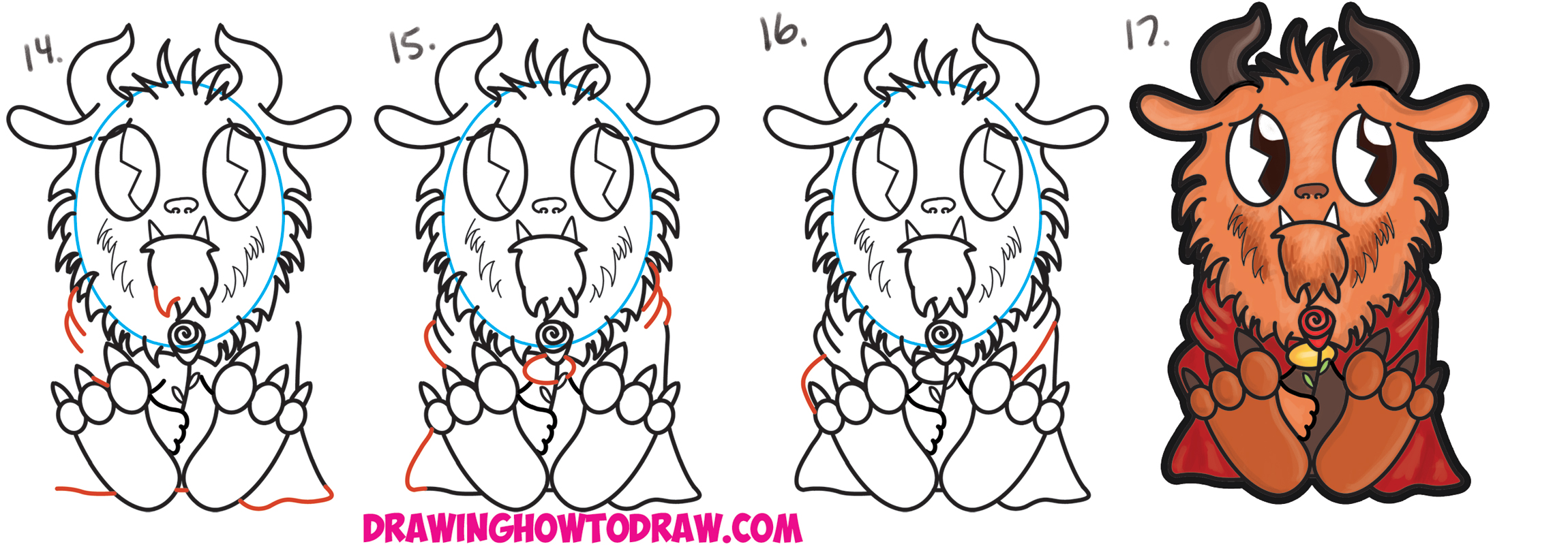 Learn How to Draw Cute Kawaii Chibi Beast from Beauty and the Beast Simple Step by Step Drawing Tutorial for Beginners