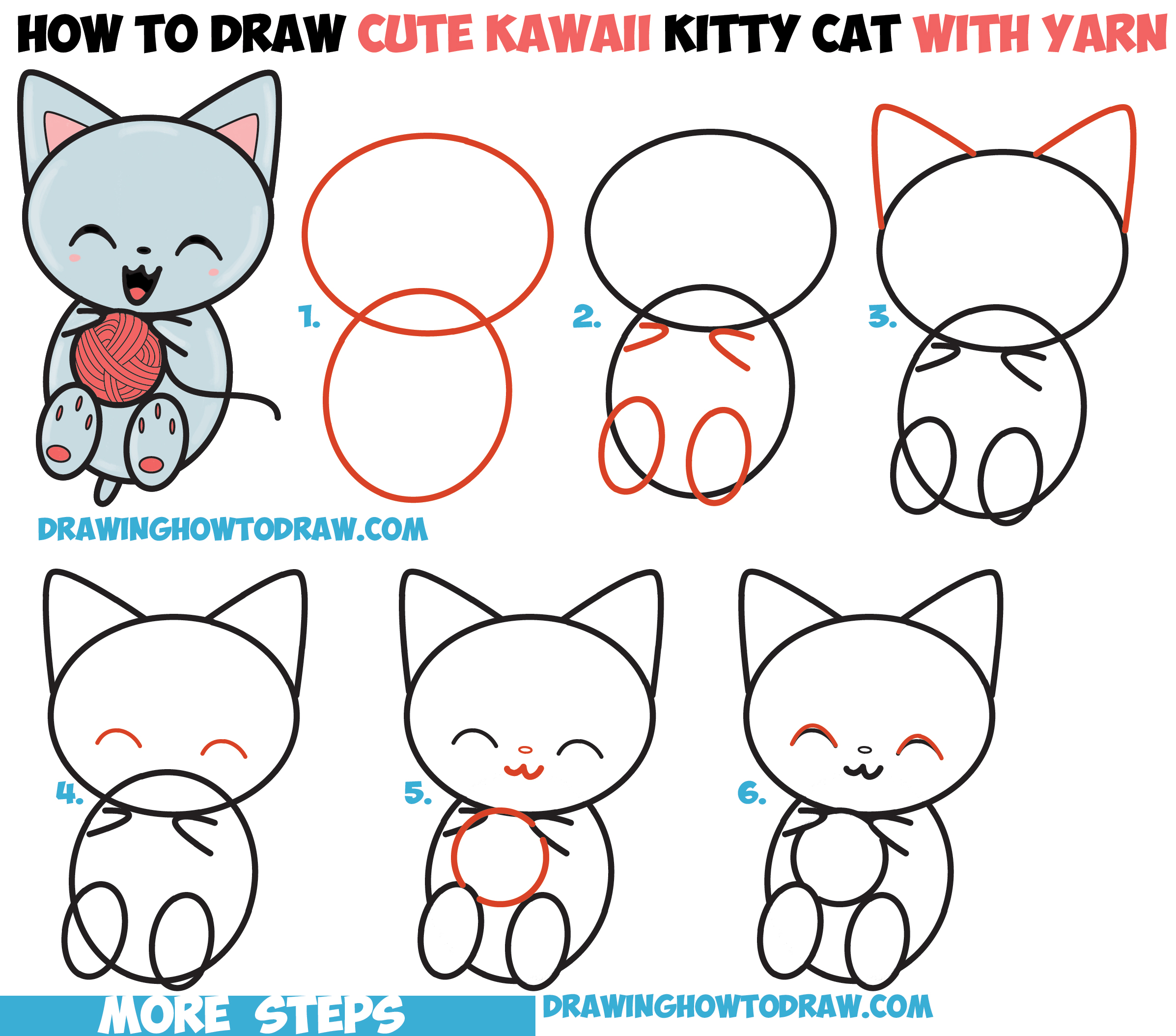 How to draw cute kawaii kitten cat playing with yarn for Learn to draw cartoons step by step lessons