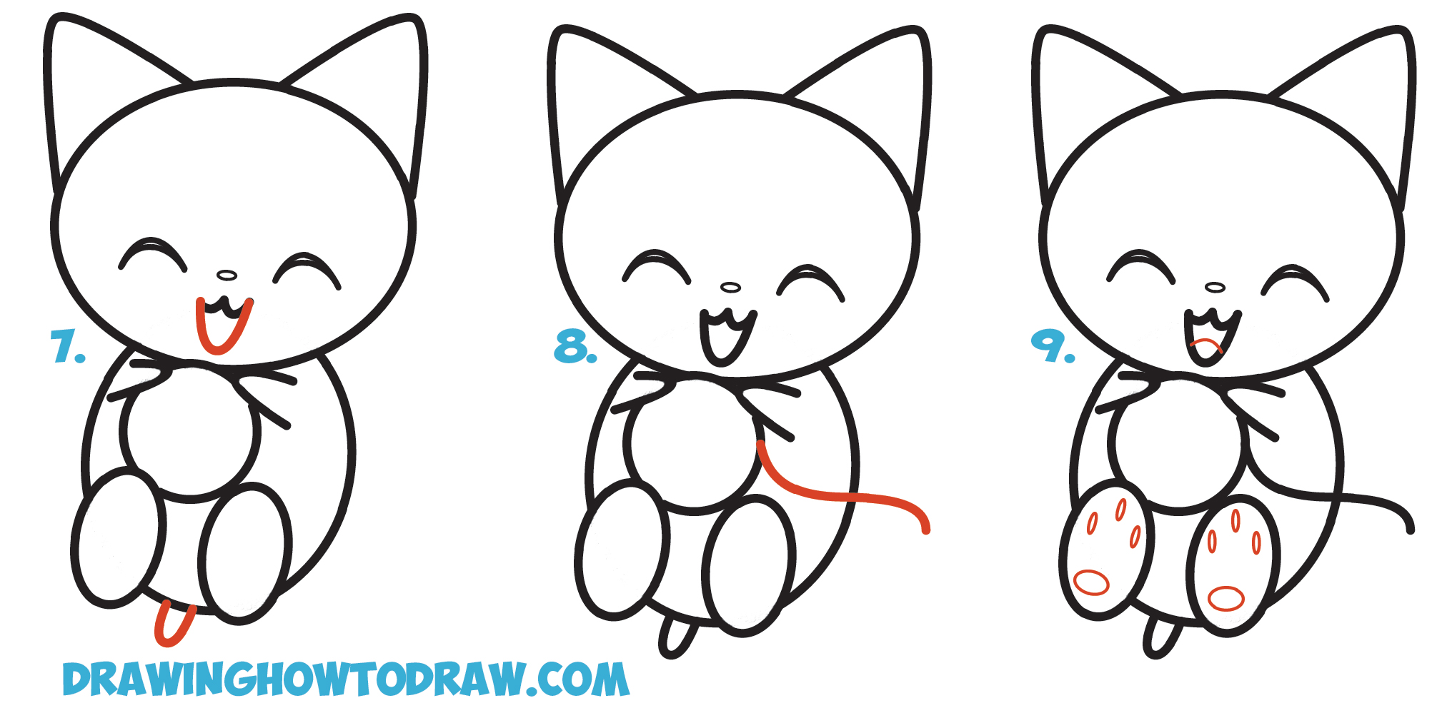 Learn How to Draw Cute Kawaii / Chibi / Cartoon Kitten / Cat Playing with Yarn Simple Steps Drawing Lesson for Beginners
