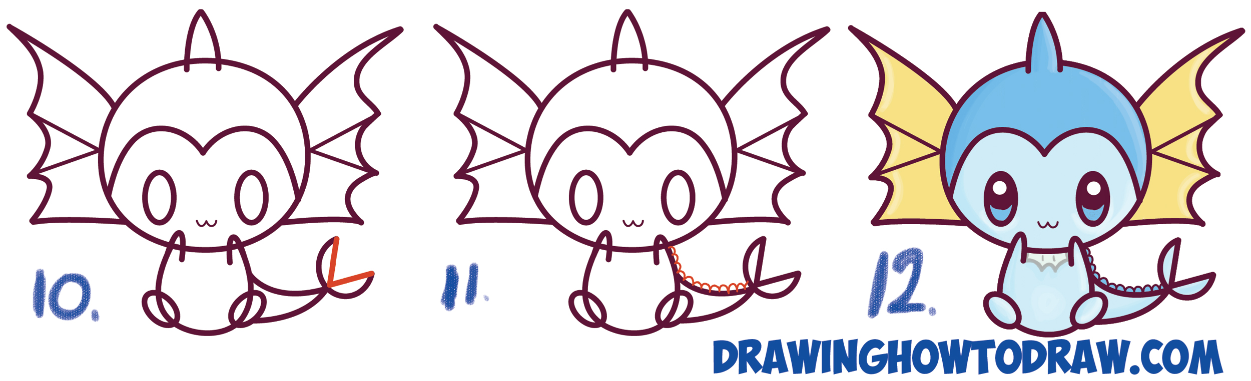 Learn How to Draw Cute Kawaii Chibi Vaporeon from Pokemon Simple Steps Drawing Tutorial for Kids