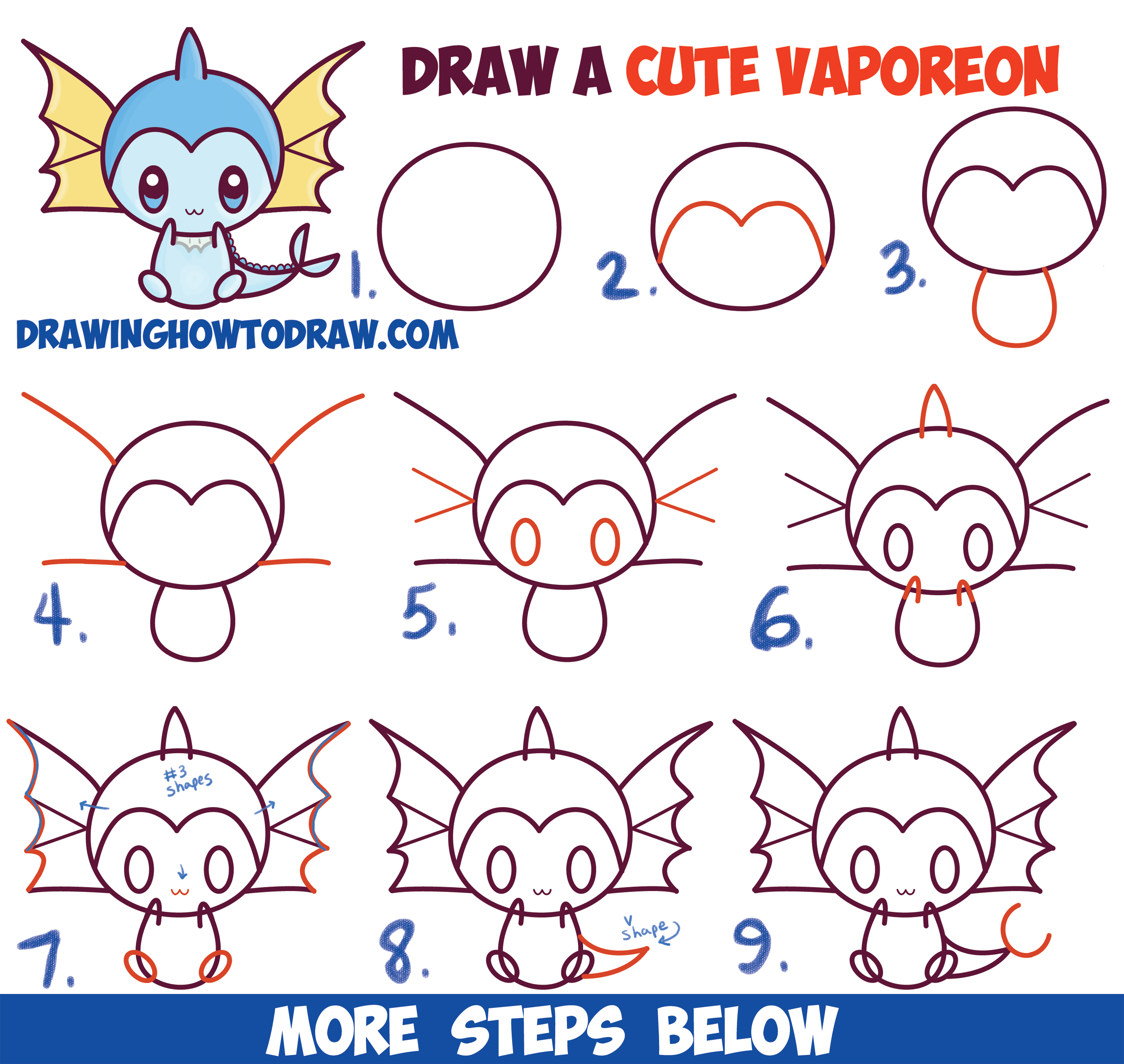How to draw cute kawaii chibi vaporeon from pokemon easy for Drawing ideas for beginners step by step