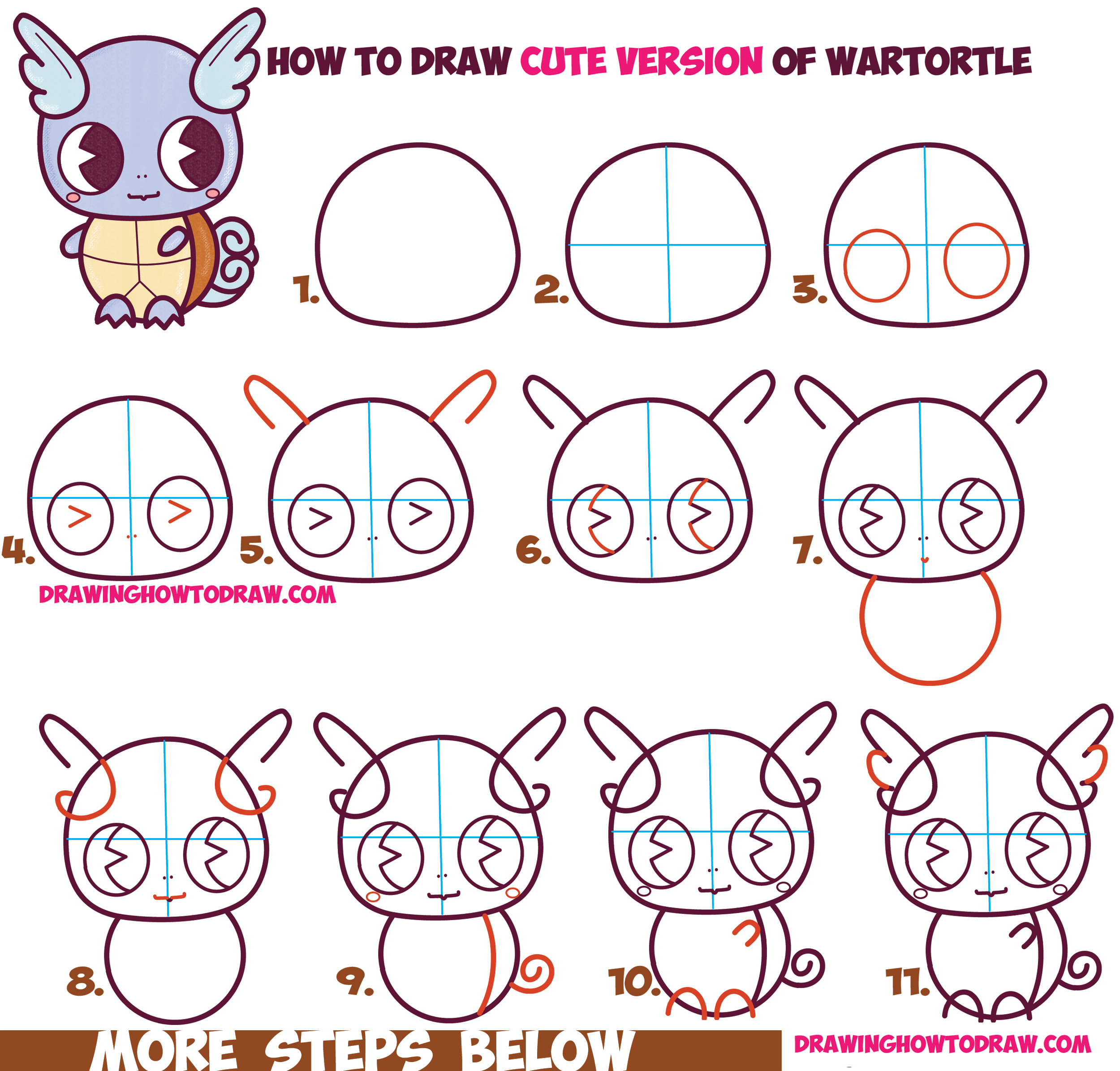 How to draw cute chibi kawaii wartortle from pokemon for Things to draw for beginners step by step