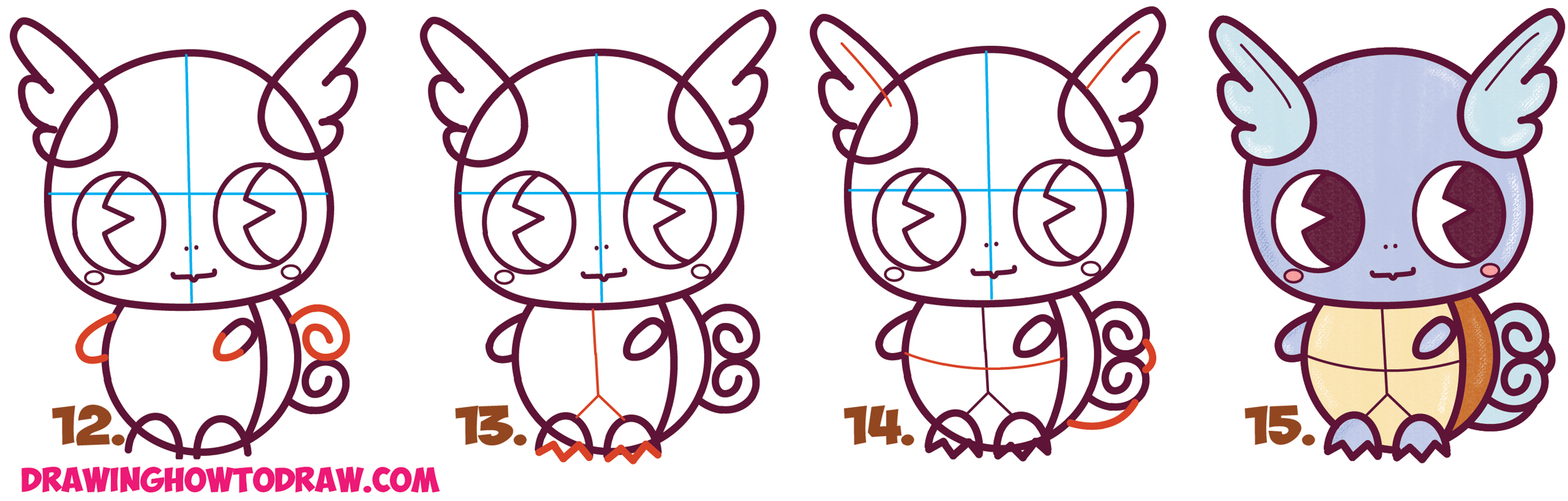 Learn How to Draw Cute / Chibi / Kawaii Wartortle from Pokemon Simple Steps Drawing Lesson for Kids