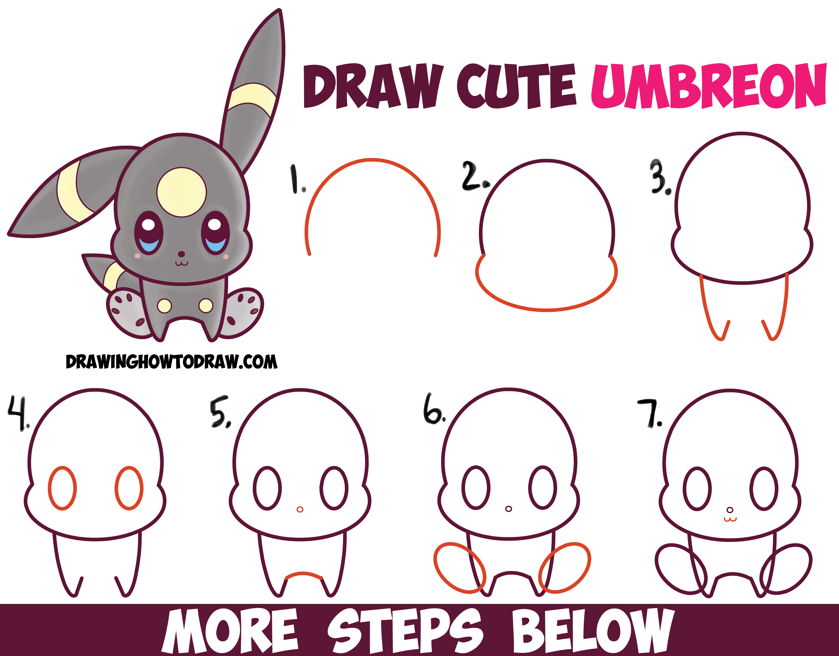 How to Draw Cute Kawaii Chibi Umbreon from Pokemon Easy Step by Step Drawing Tutorial for Kids