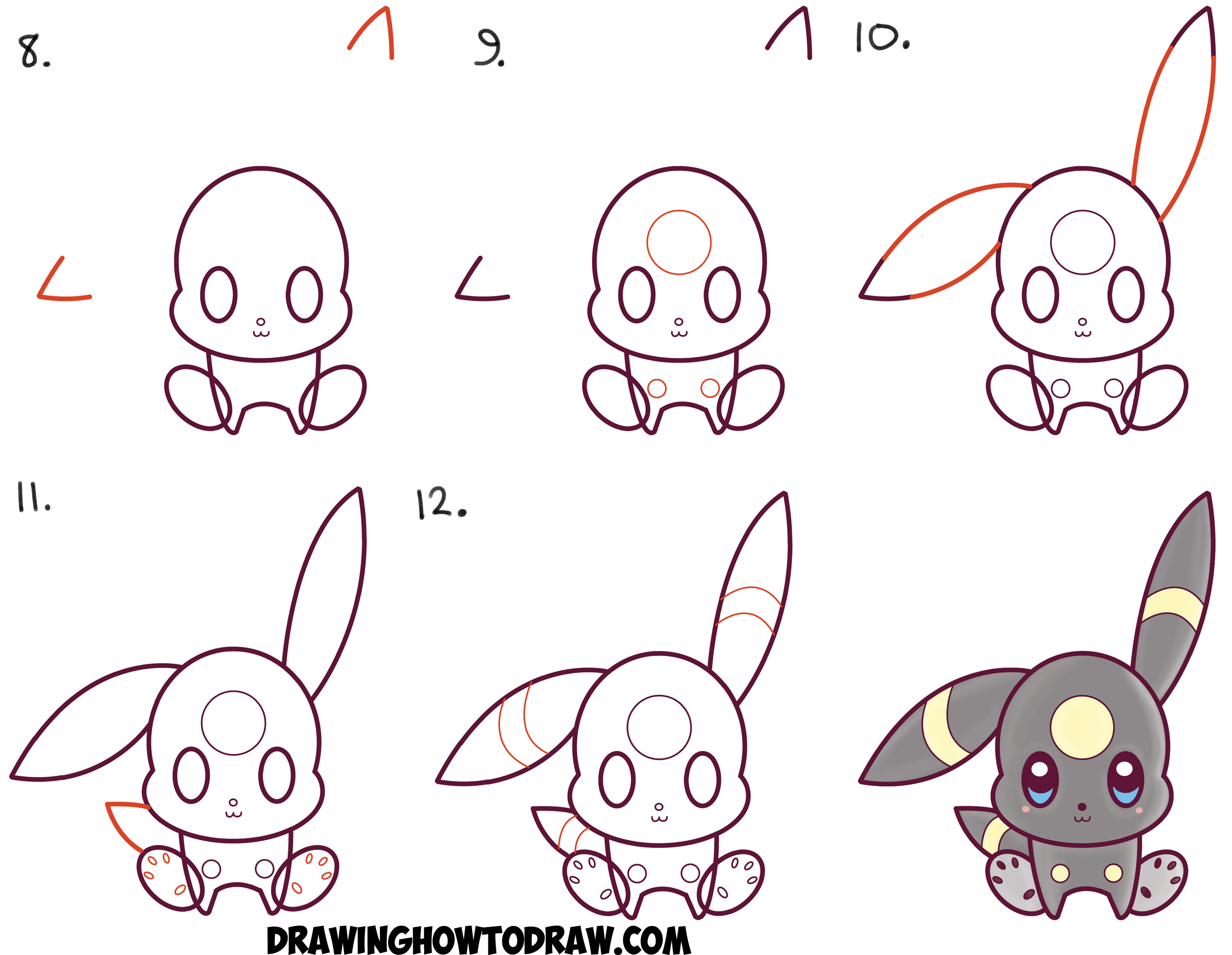 How to Draw Cute Kawaii Chibi Umbreon from Pokemon Easy ...