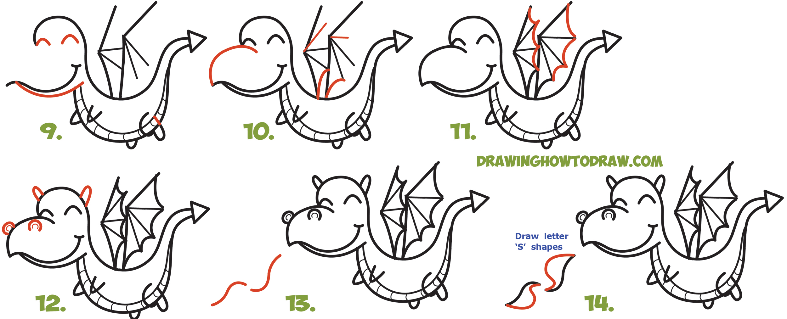 How to Draw a Cute Kawaii / Chibi Dragon Shooting Fire with Easy Step by Step Drawing Tutorial for Kids and Beginners