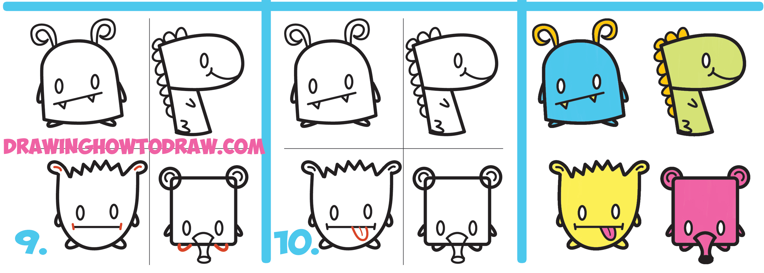 learn how to draw cute cartoon monsters from simple shapes letters and numbers for kids