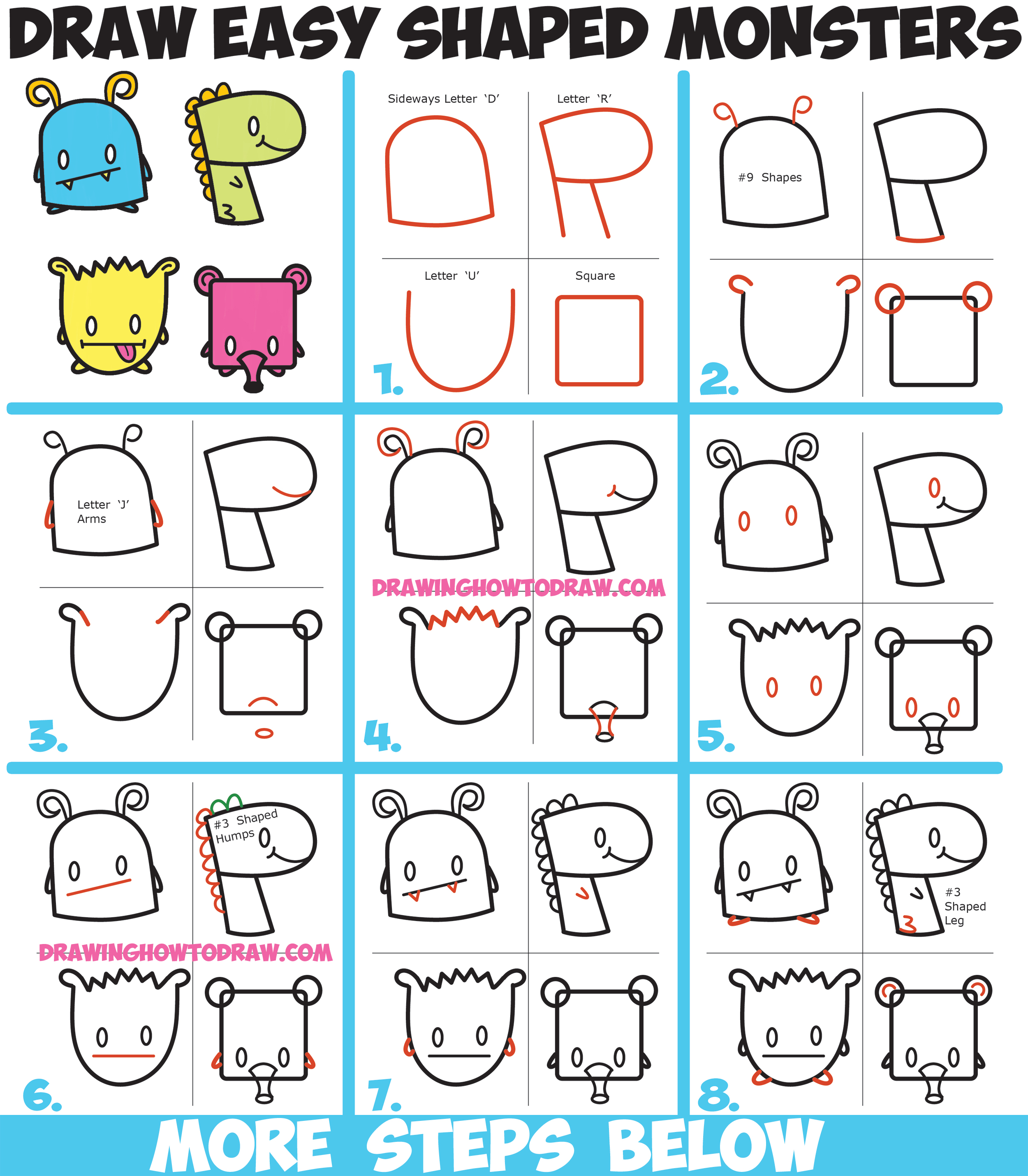 how to draw cute cartoon monsters from simple shapes letters and numbers for kids easy - Simple Shapes