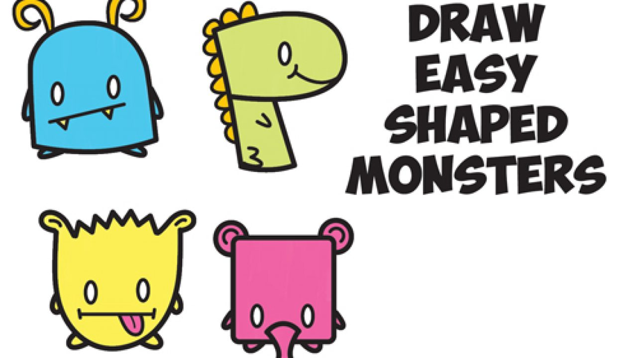 How To Draw Cute Cartoon Monsters From Simple Shapes Letters And Numbers For Kids How To Draw Step By Step Drawing Tutorials
