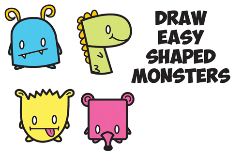 How to Draw Cute Cartoon Monsters from Simple Shapes ...