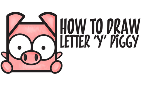 how to draw a cute kawaii cartoon pig from letter y shapes easy step by step drawing tutorial for kids how to draw step by step drawing tutorials