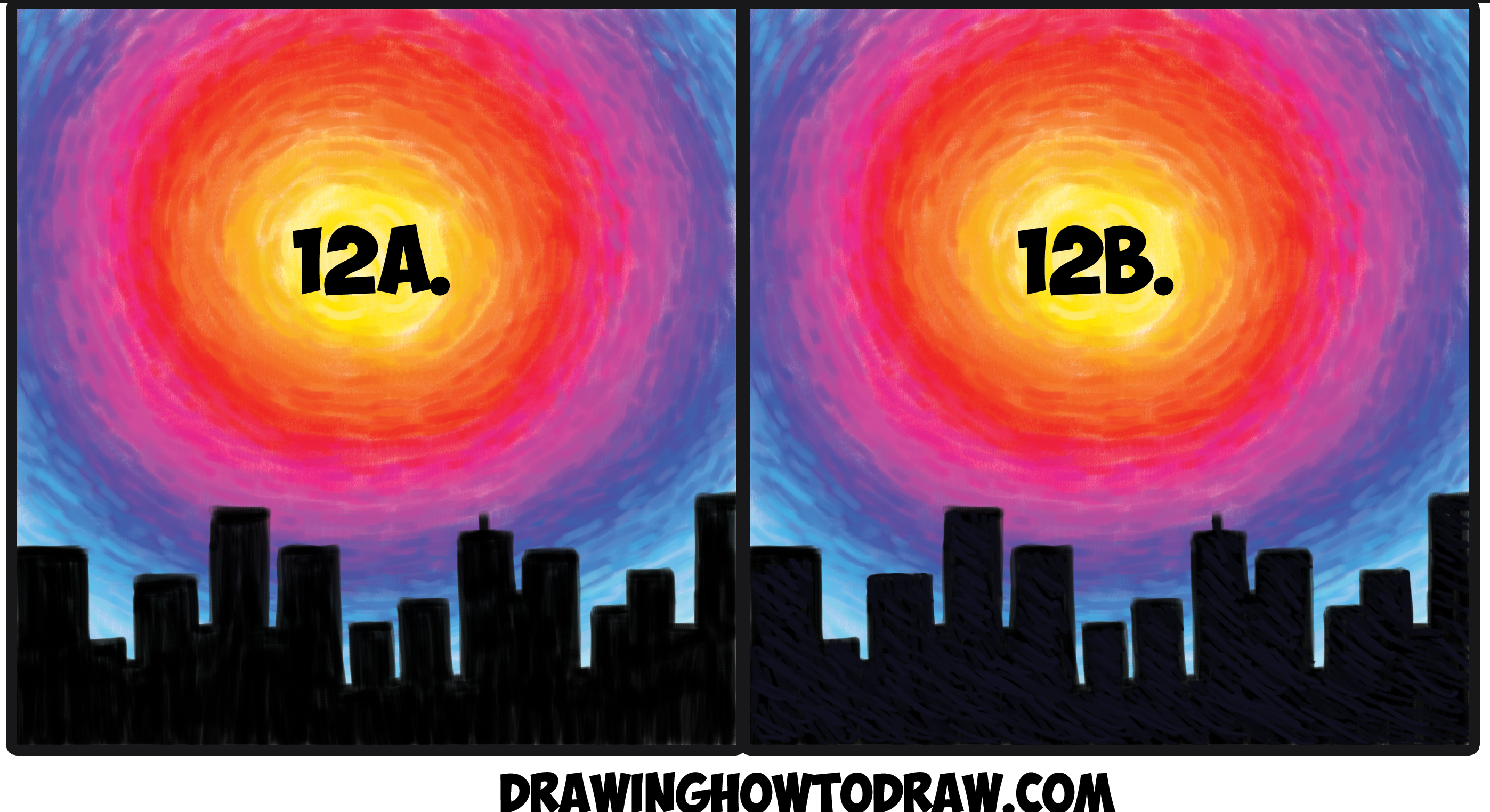 Learn How to Draw or Paint Sunset with Black City Silhouette Cityscape Simple Steps with Colored Pencils, Pastels, Acrylics, or Markers Tutorial for Kids or Beginners