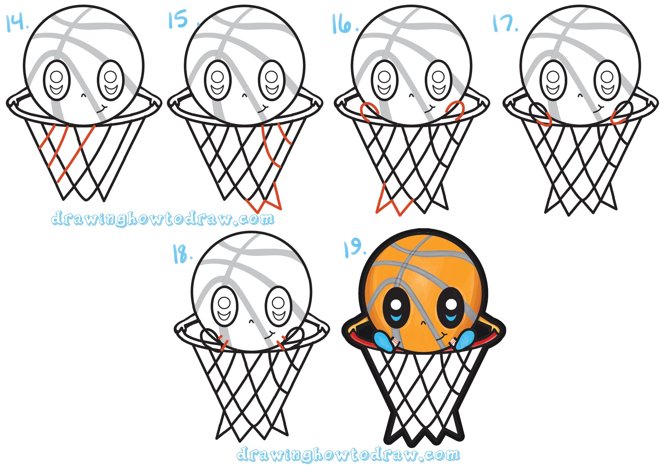 How To Draw A Cartoon Basketball Guy Cute Kawaii Chibi Style In